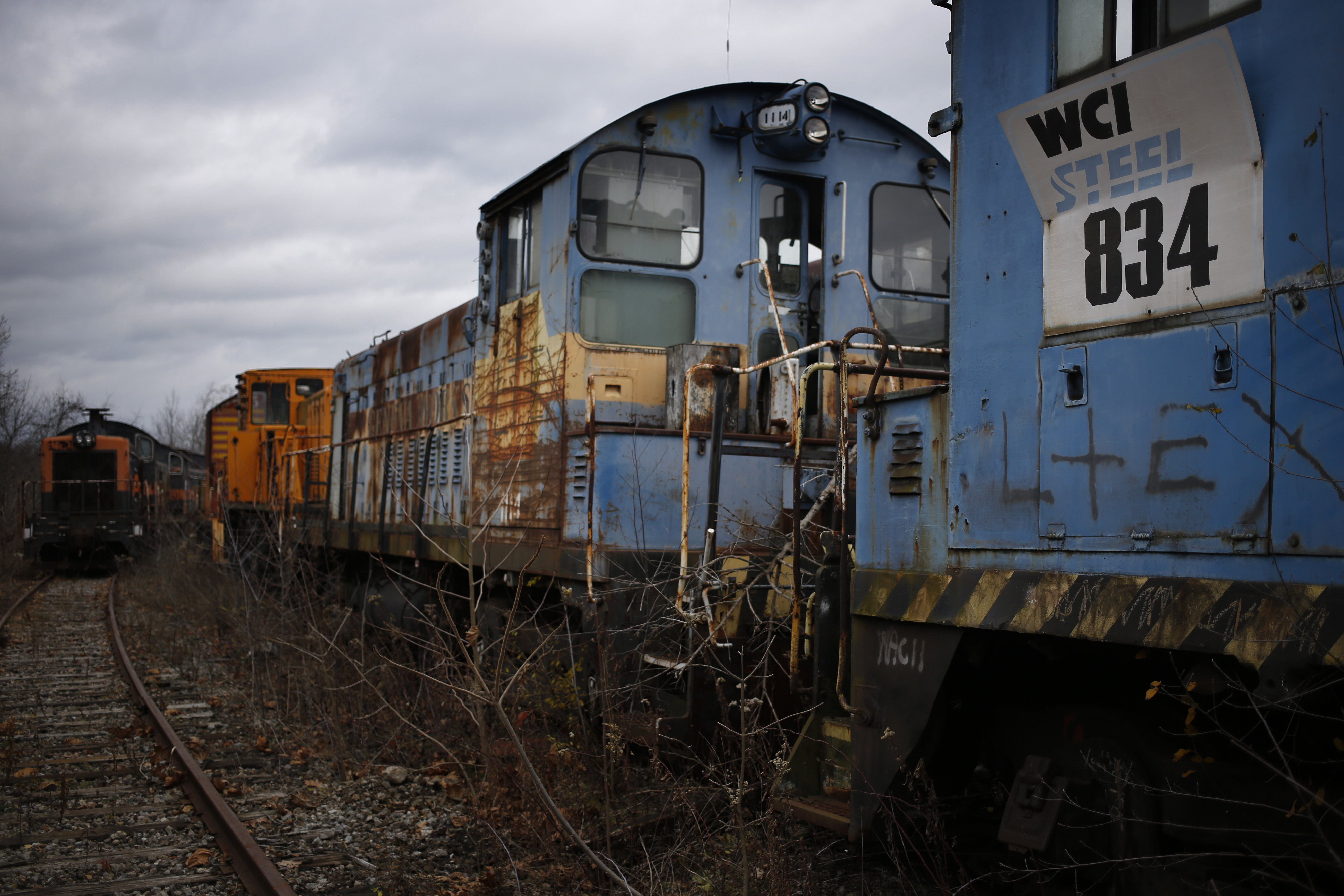 Abandoned switching locomotives sit parked on the grounds of the former U.S. Steel McDonald Works steel mill near Youngstown in Campbell, Ohio, U.S., on Tuesday, Dec. 1, 2016.