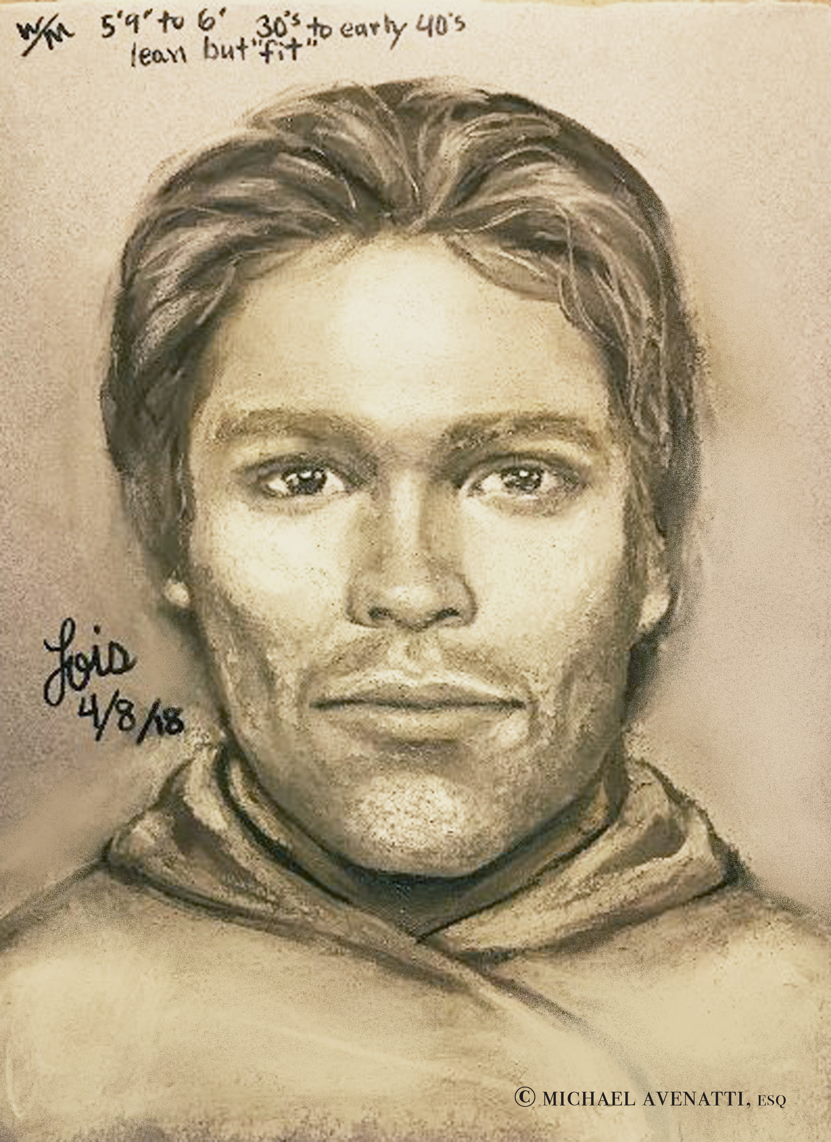 A composite sketch of the man Stormy Daniels says threatened her in a Las Vegas parking lot in 2011 to remain quiet about her affair with President Trump