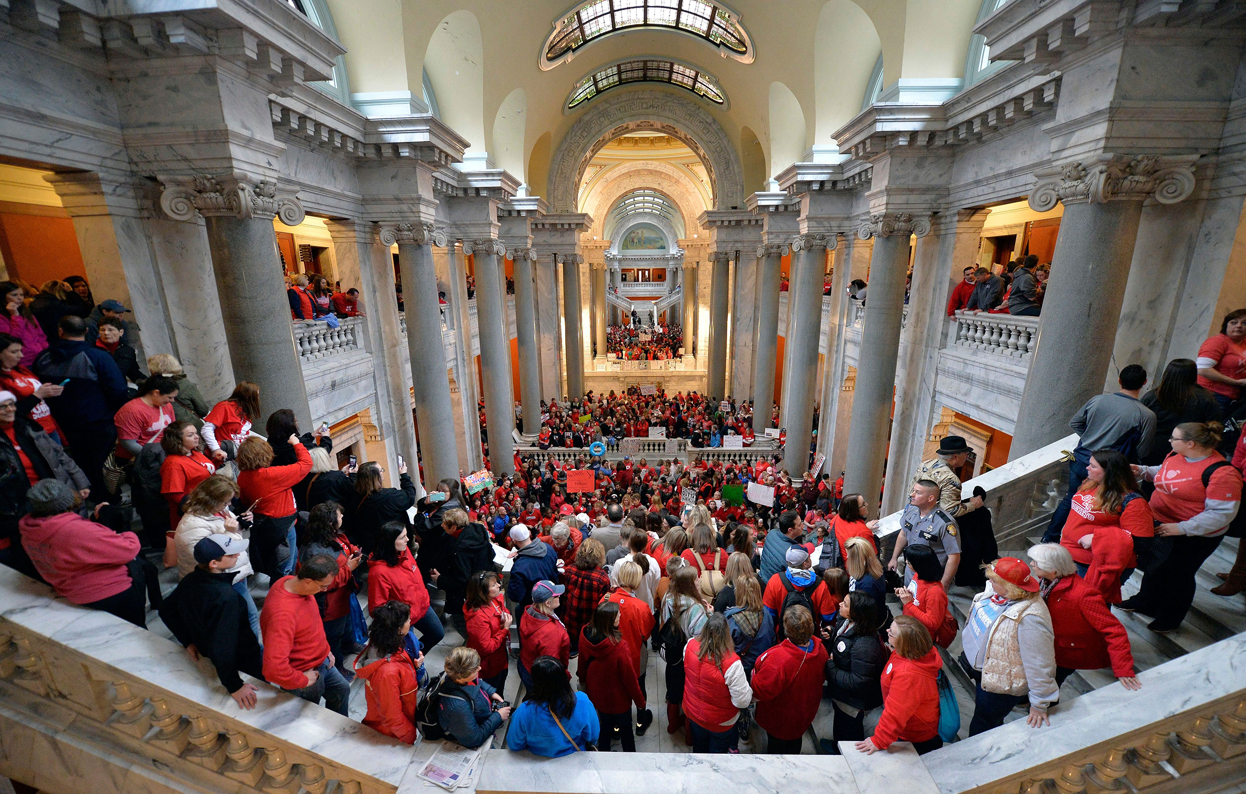 Kentucky teachers fill the state capitol on April 2 to protest pension changes and budget cutThousands of teachers from across Kentucky fill the state Capitol to rally for increased funding and to protest last minute changes to their state funded pension system, in Frankfort, Ky. Thousands filled the state Capitol to protest teacher pension changes, and schools were closed statewide in Oklahoma as thousands more educators rallied for increased education funding                     Teacher Protests, Frankfort, USA - 02 Apr 2018