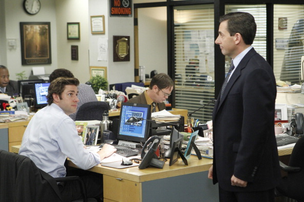 John Krasinski as Jim Halpert, Rainn Wilson as Dwight Schrute and Steve Carell as Michael Scott in 'The Office'