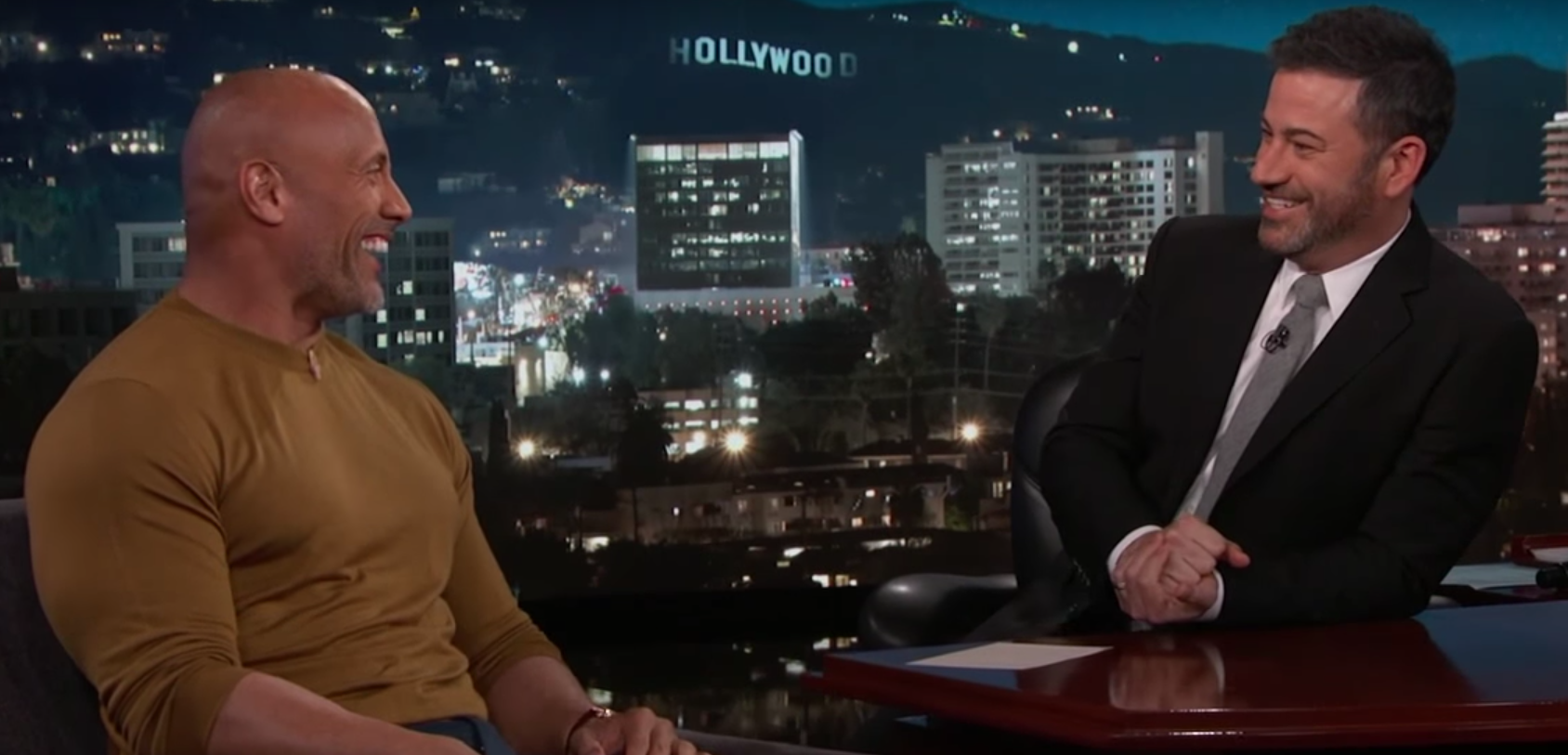 Dwayne Johnson, AKA The Rock, on 'Jimmy Kimmel Live!' asking Jimmy Kimmel to help deliver his baby