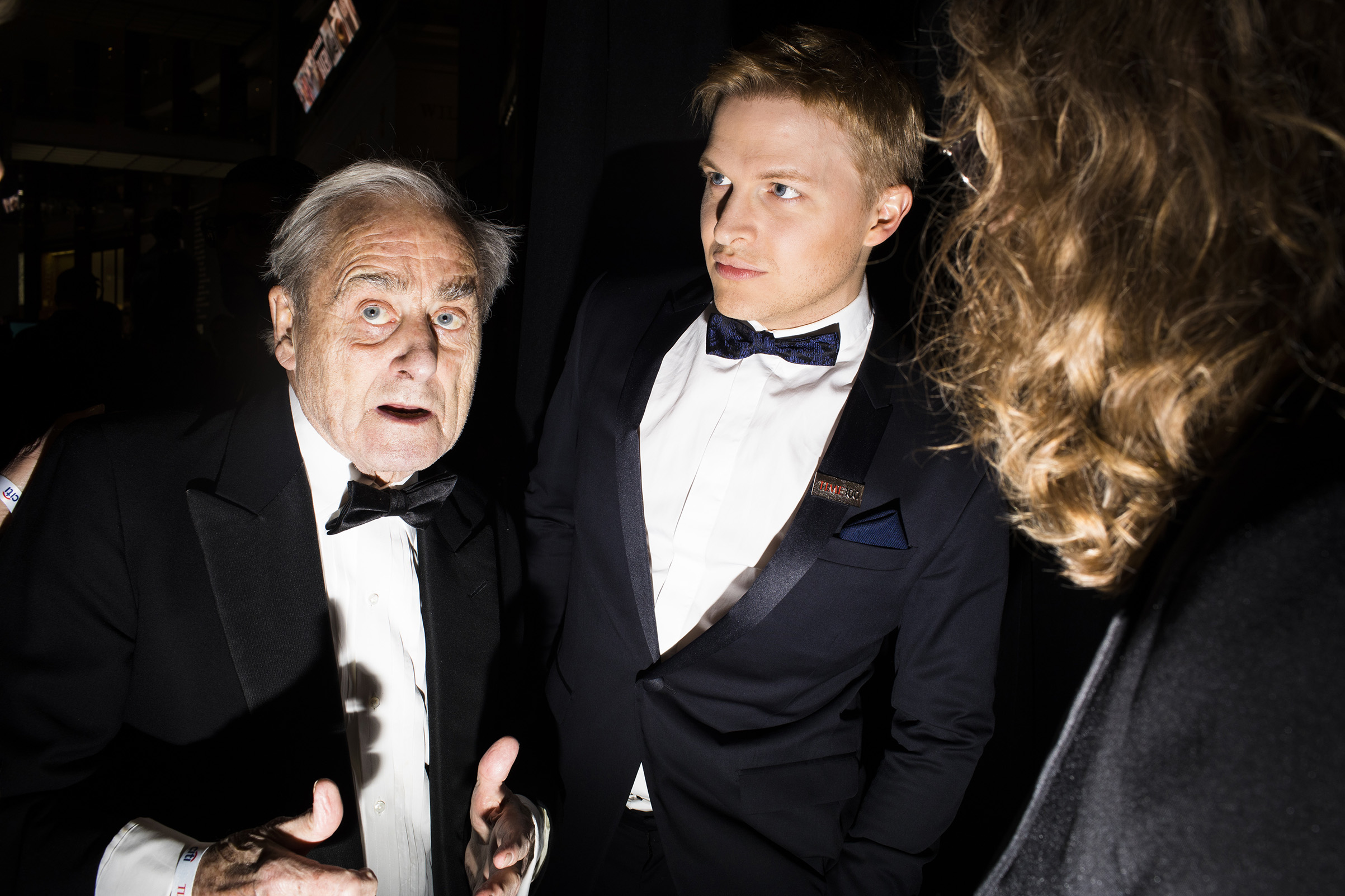 Sir Harold Evans, left, and Ronan Farrow, center, at the Time 100 Gala at Jazz at Lincoln Center on April 24, 2018 in New York City.