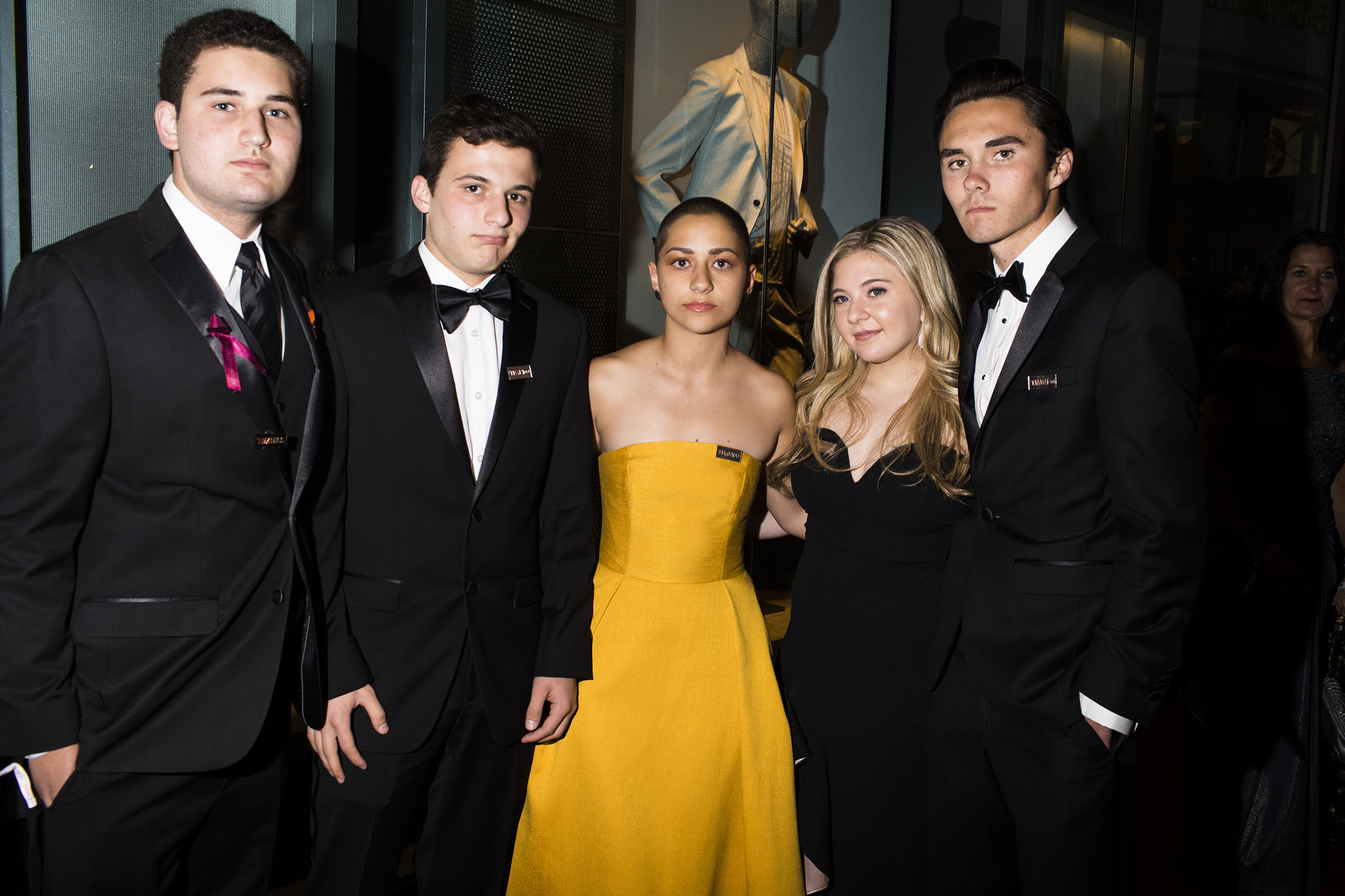 Parkland Activists Alex Wind, Cameron Kasky, Emma Gonzalez, Jaclyn Corin, and David Hogg at the Time 100 Gala at Jazz at Lincoln Center on April 24, 2018 in New York City.