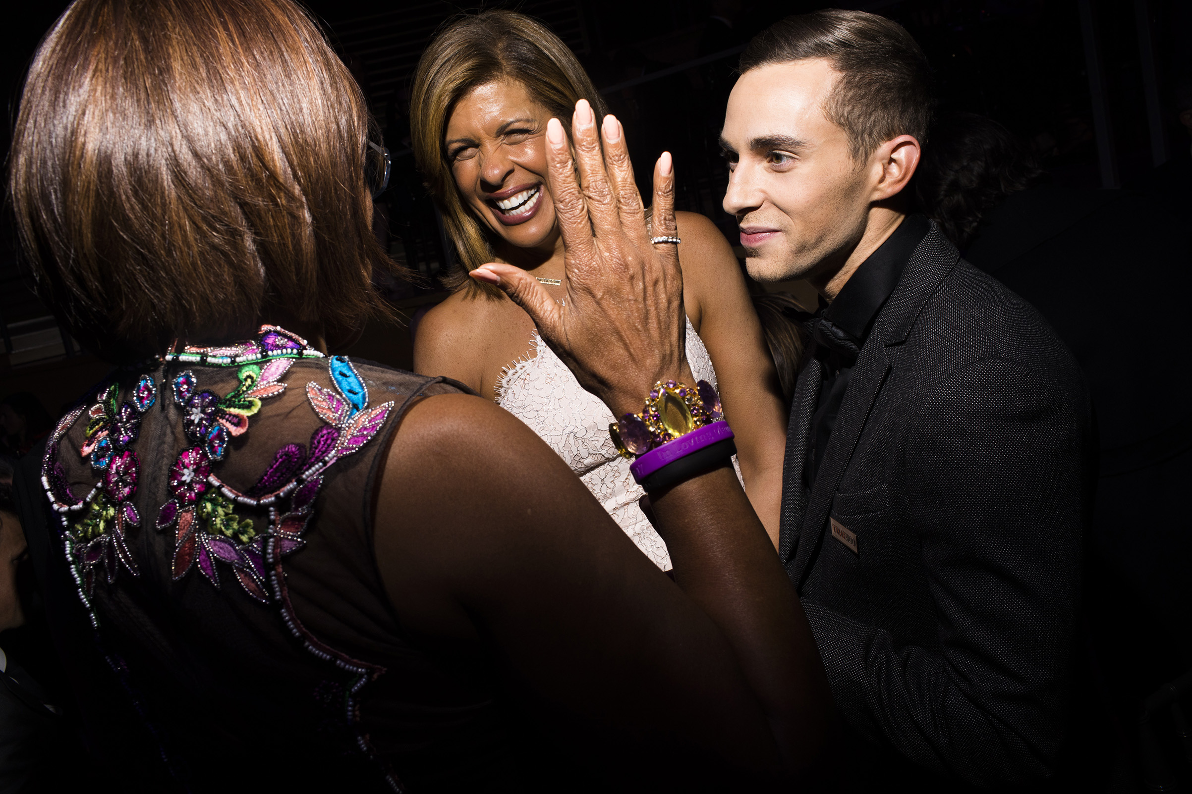 Gayle King, Hoda Kotb and Adam Rippon at the Time 100 Gala at Jazz at Lincoln Center on April 24, 2018 in New York City.