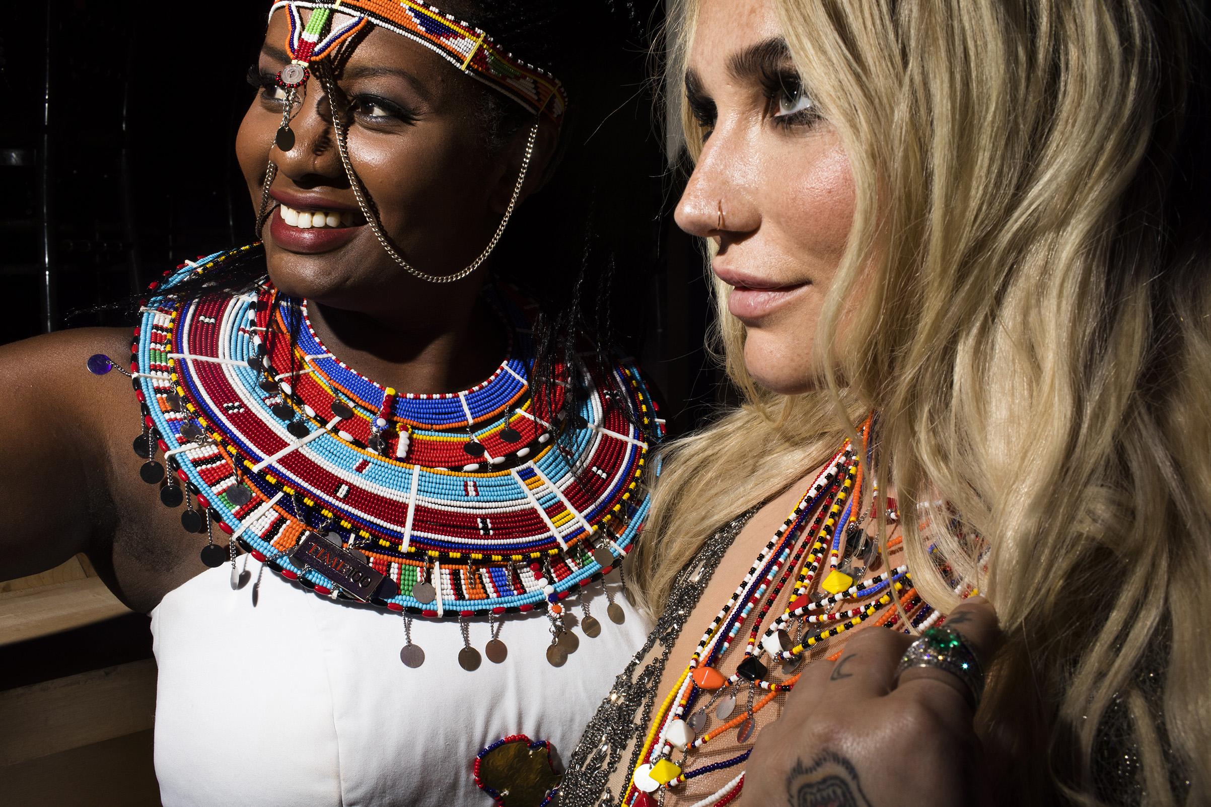 Human Rights Activist Nice Nailantei Leng'ete and Kesha at the Time 100 Gala at Jazz at Lincoln Center on April 24, 2018 in New York City.