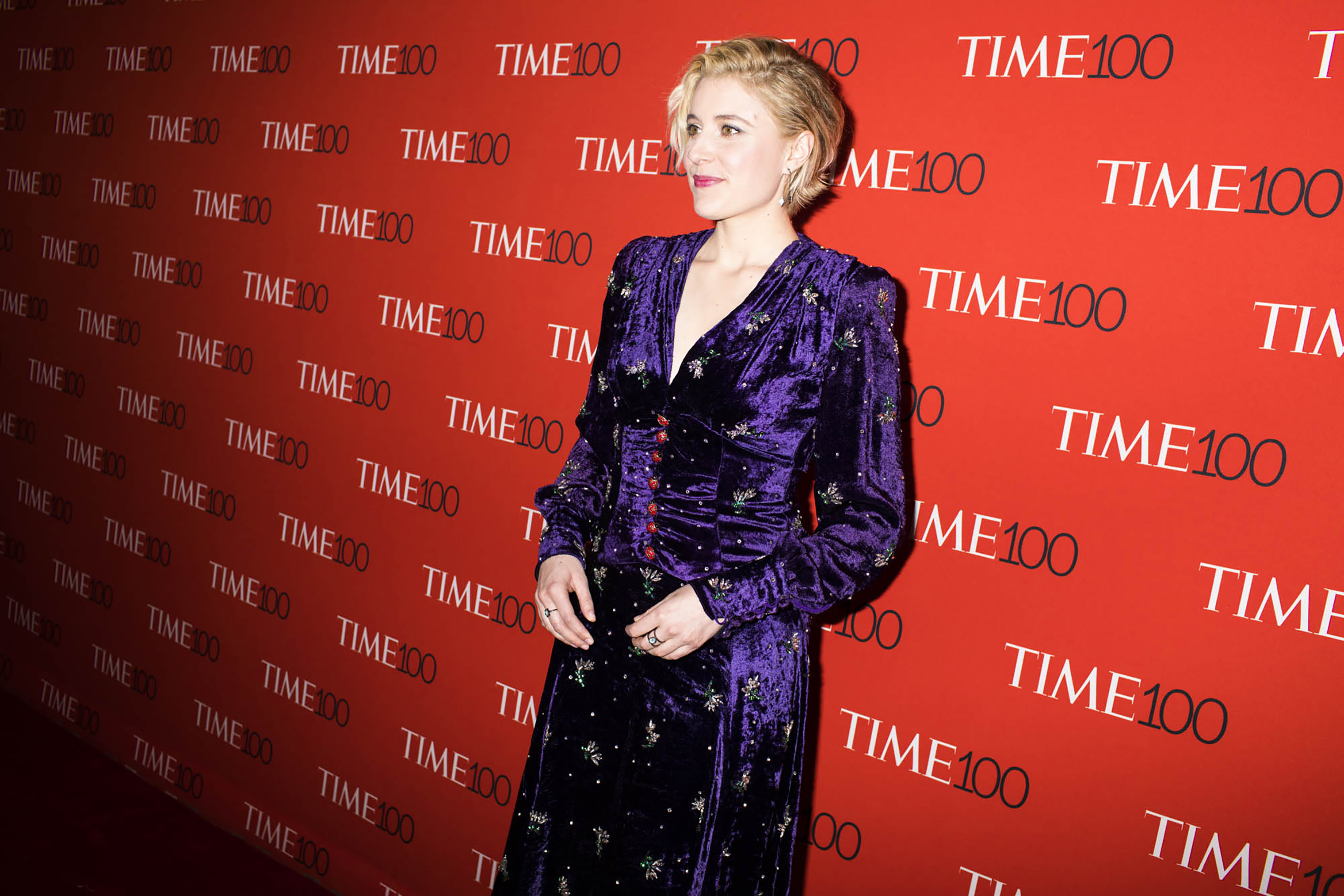 Greta Gerwig at the Time 100 Gala at Jazz at Lincoln Center on April 24, 2018 in New York City.