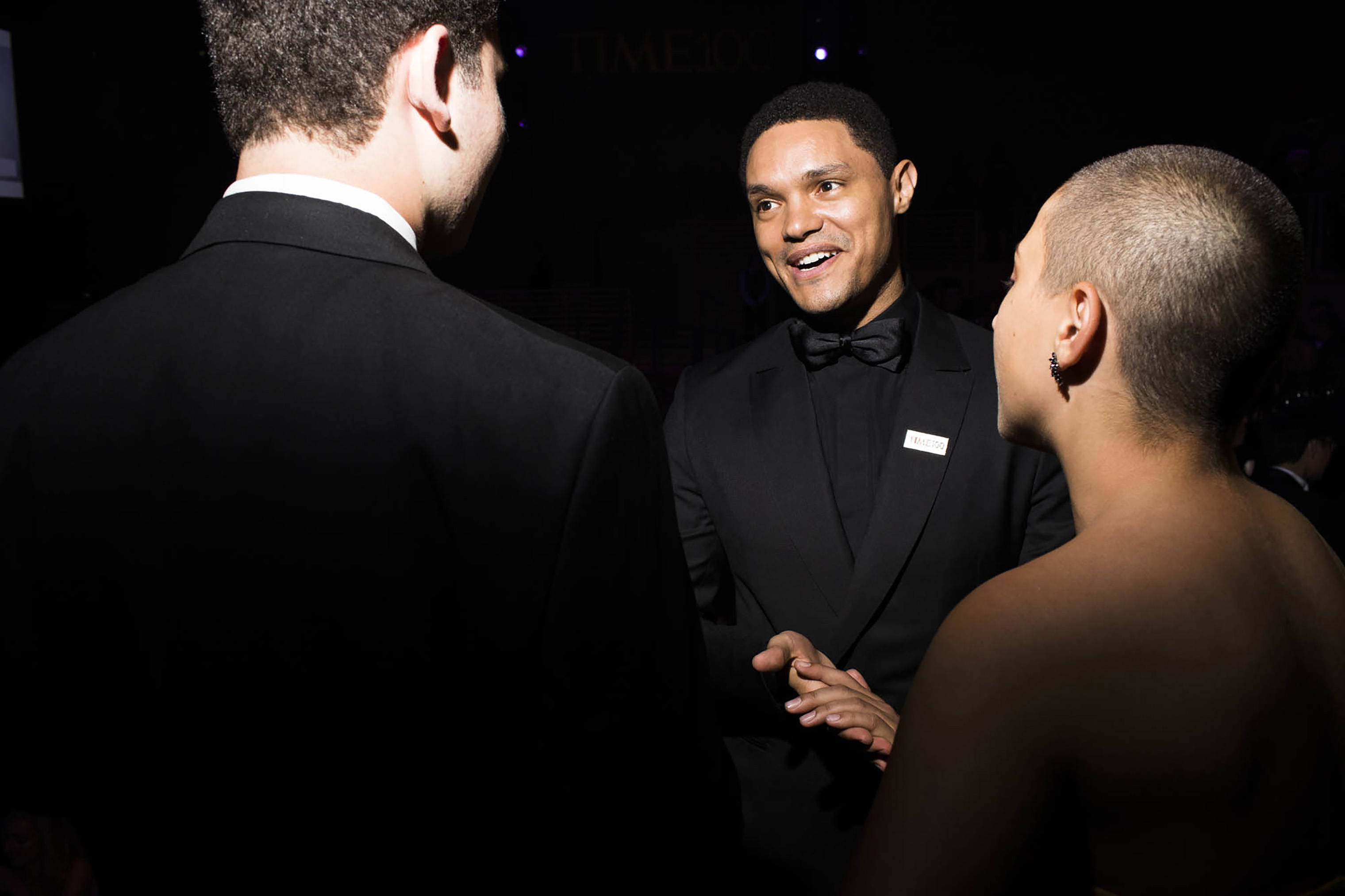 Trevor Noah speaks with Parkland activists Alex Wind and Emma Gonzalez at the Time 100 Gala at Jazz at Lincoln Center on April 24, 2018 in New York City.