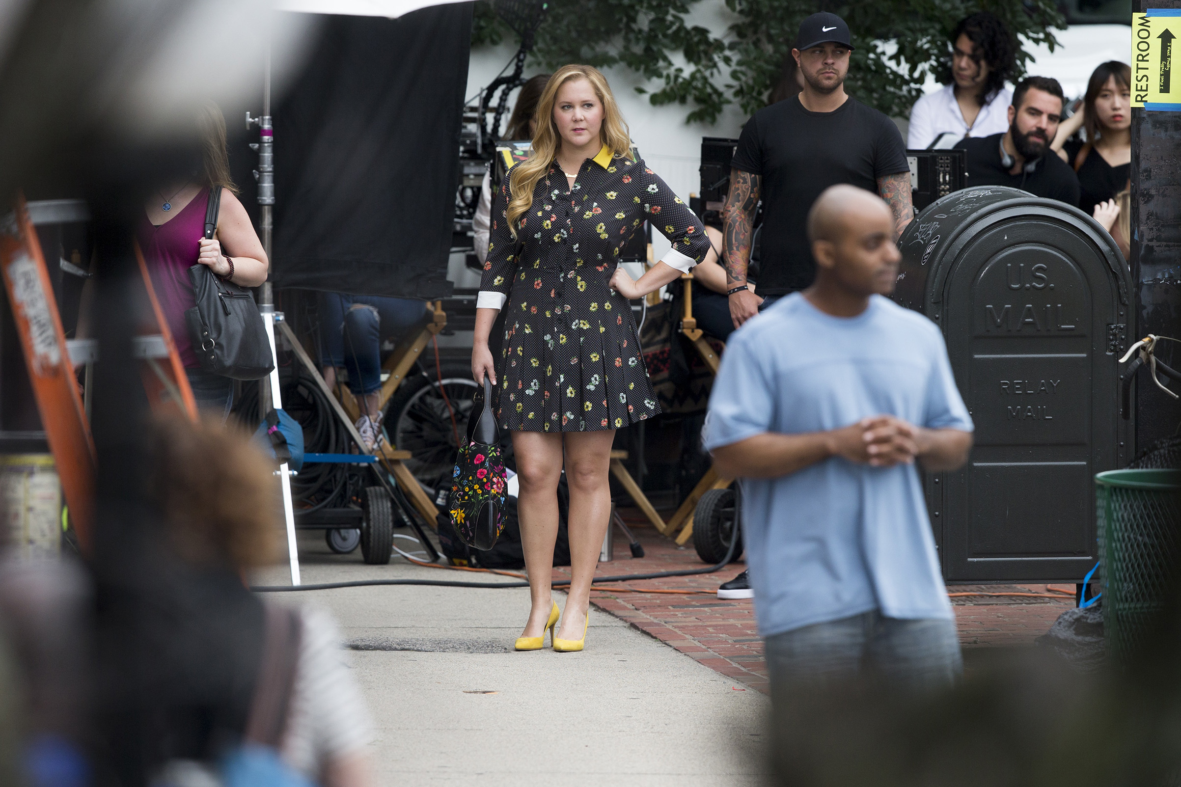 Amy Schumer on the set of a new movie filming on Tremont Street in Boston on Aug. 7, 2017.