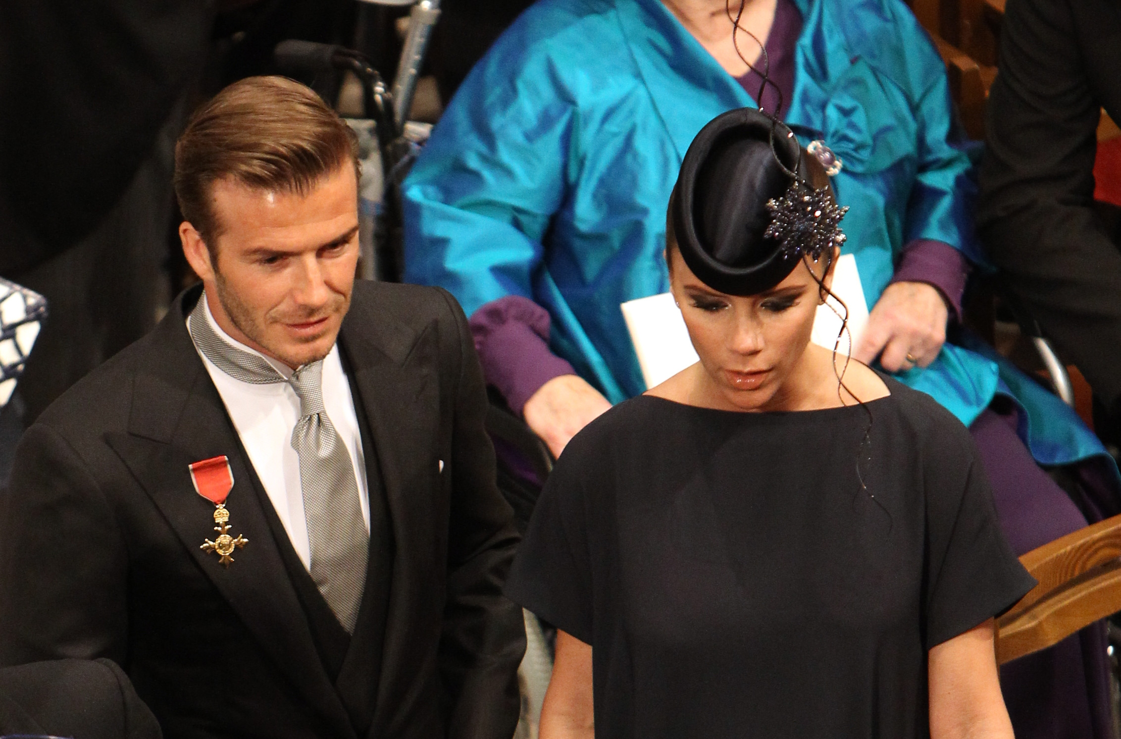 David and Victoria Beckham are seen in Westminster Abbey on April 29, 2011 in London, England.