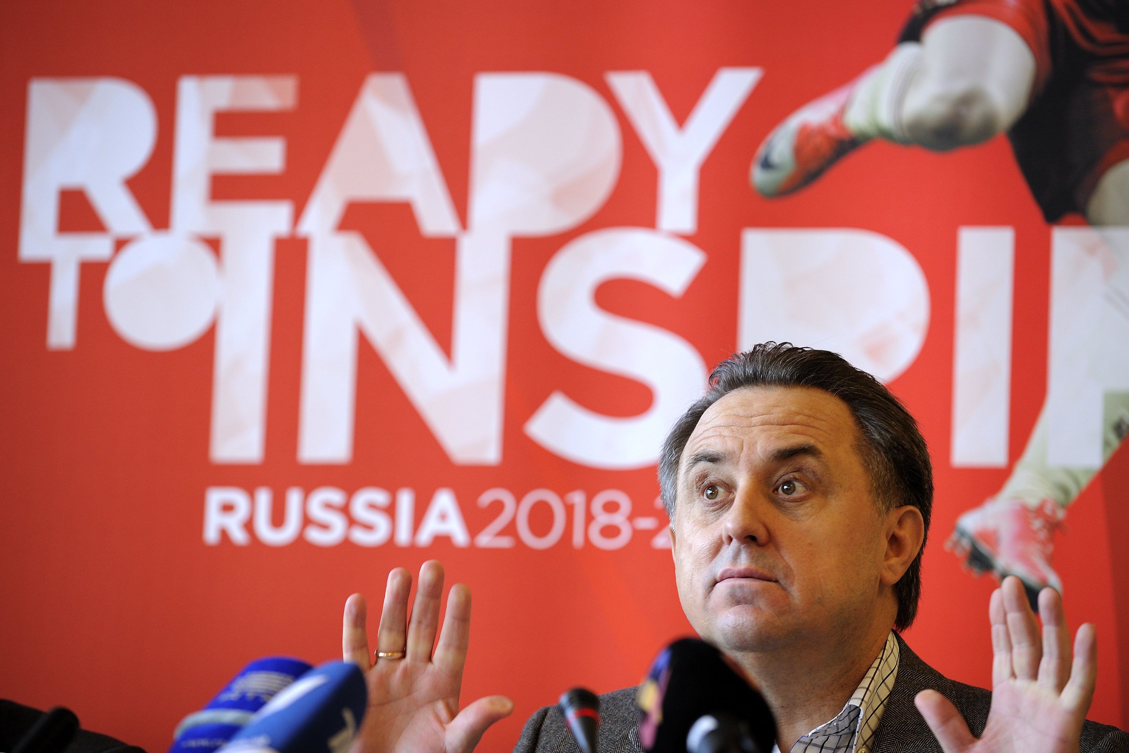 Russian Sports Minister Vitaly Mutko gives a press conference on Nov. 30, 2010 in Zurich before his country's 2018 World Cup bid to world football's ruling body FIFA. FABRICE COFFRINI—AFP/Getty Images
