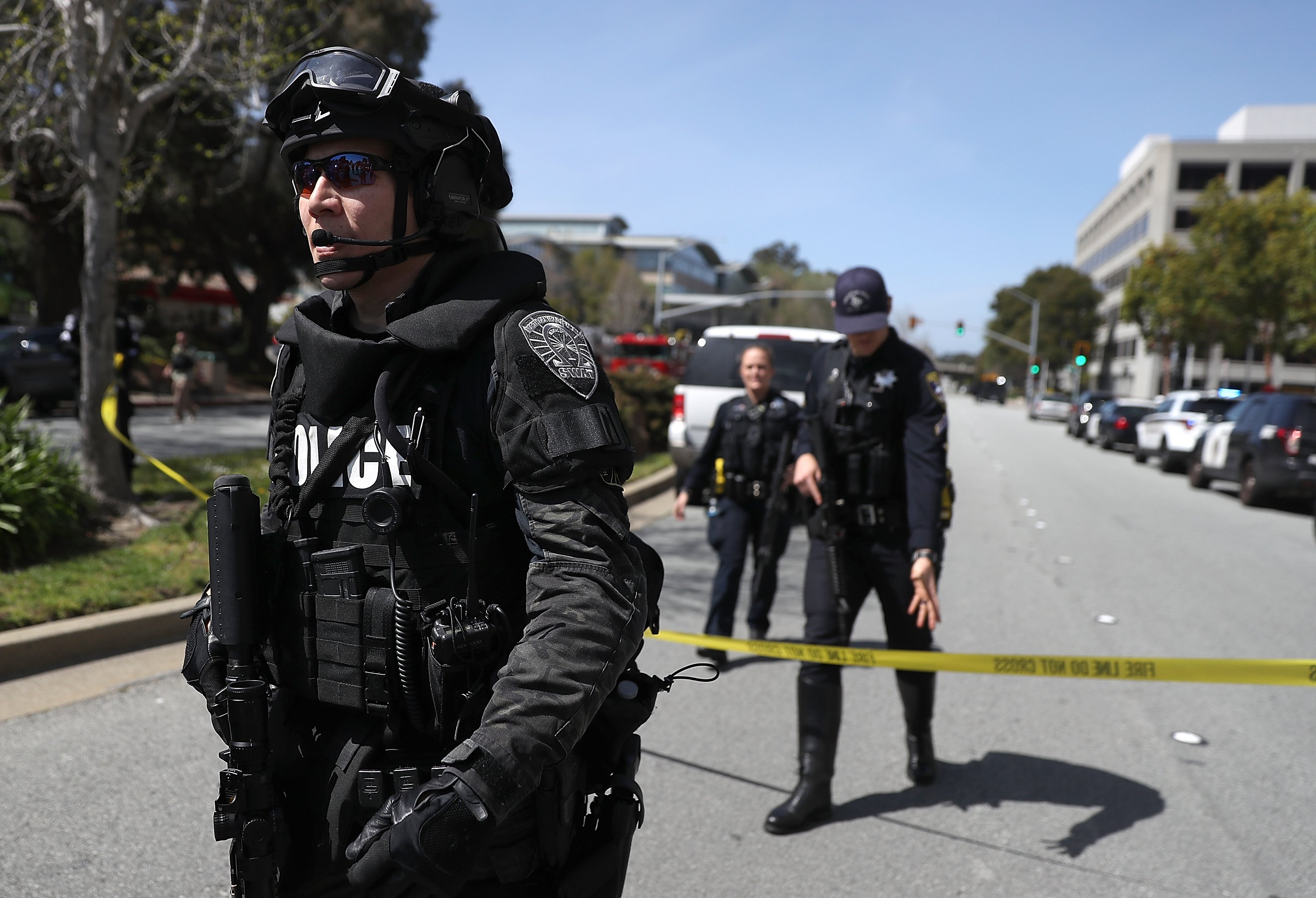 Law enforcement stands watch outside of the YouTube headquarters on April 3, 2018 in San Bruno, California. Justin Sullivan—Getty Images