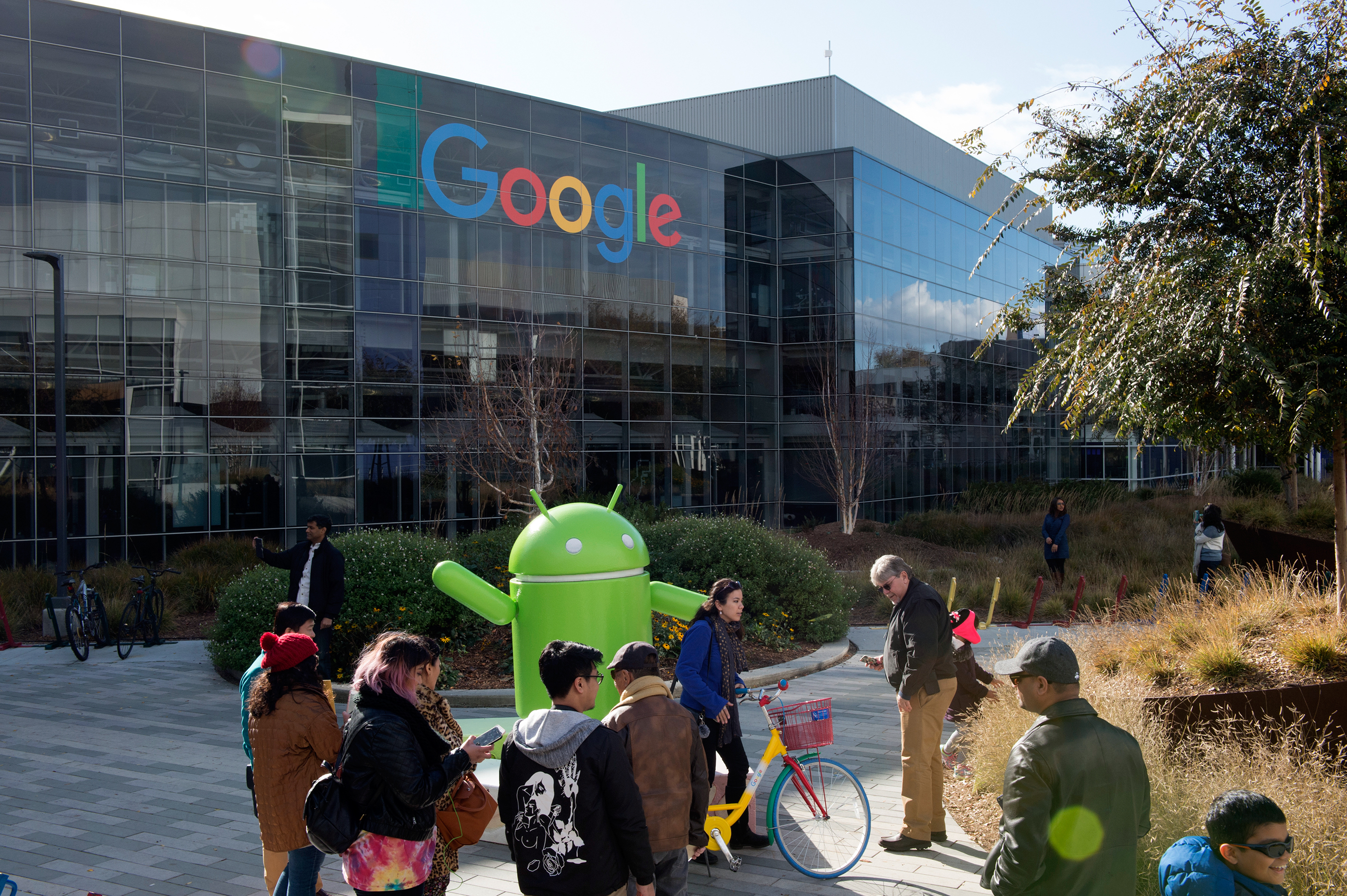 Tourist visit the headquarter of Google in Mountain View, California.