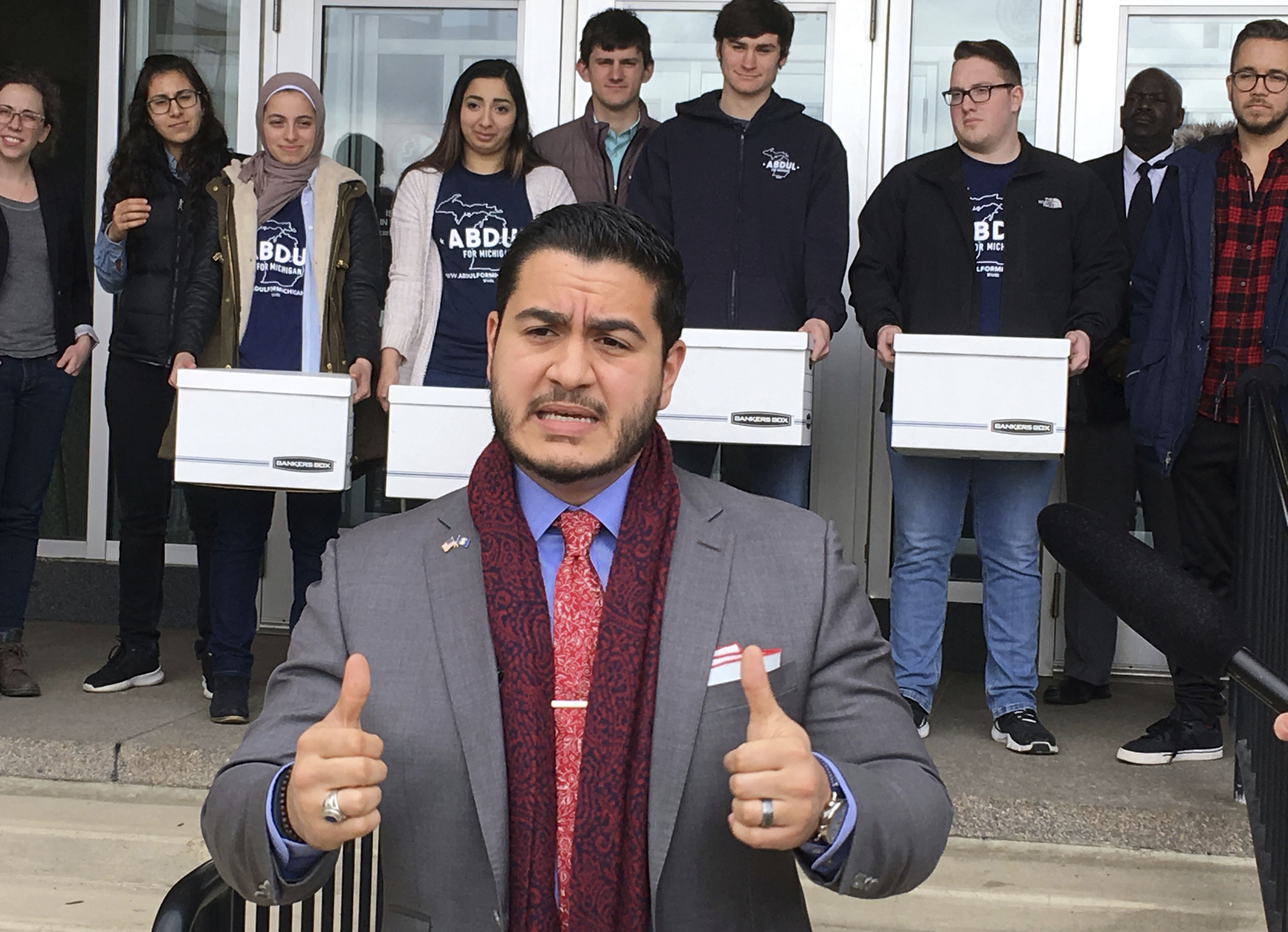 Democratic gubernatorial candidate Abdul El-Sayed speaks before submitting 24,000 nominating petitions to the Michigan Bureau of Elections, in Lansing, Mich.