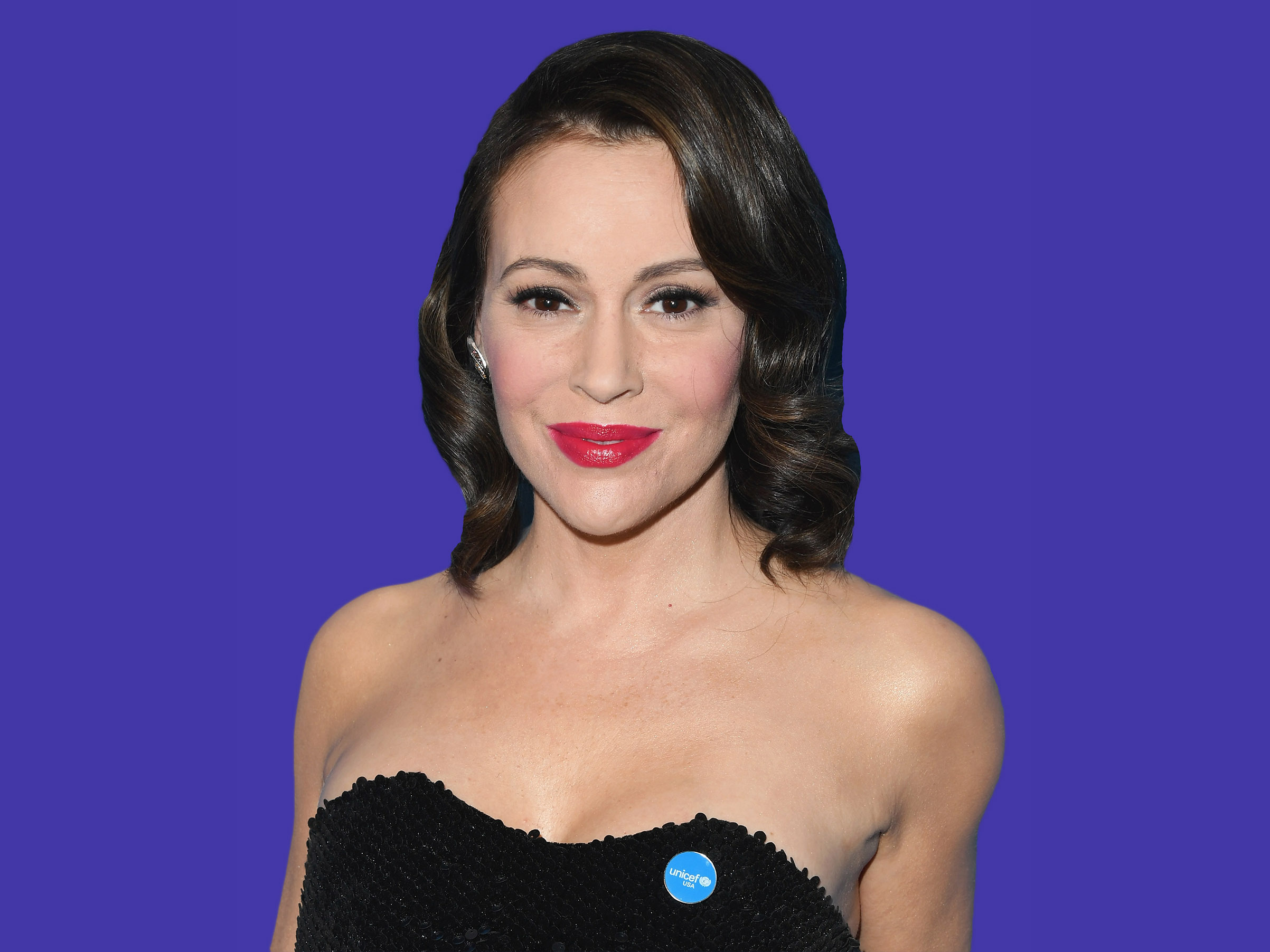 Alyssa Milano attends the 7th Biennial UNICEF Ball at the Beverly Wilshire Four Seasons Hotel on April 14, 2018 in Beverly Hills, California