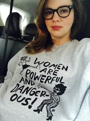 Amberlyn Tamblyn on her way to the Women's March while 8 months pregnant.