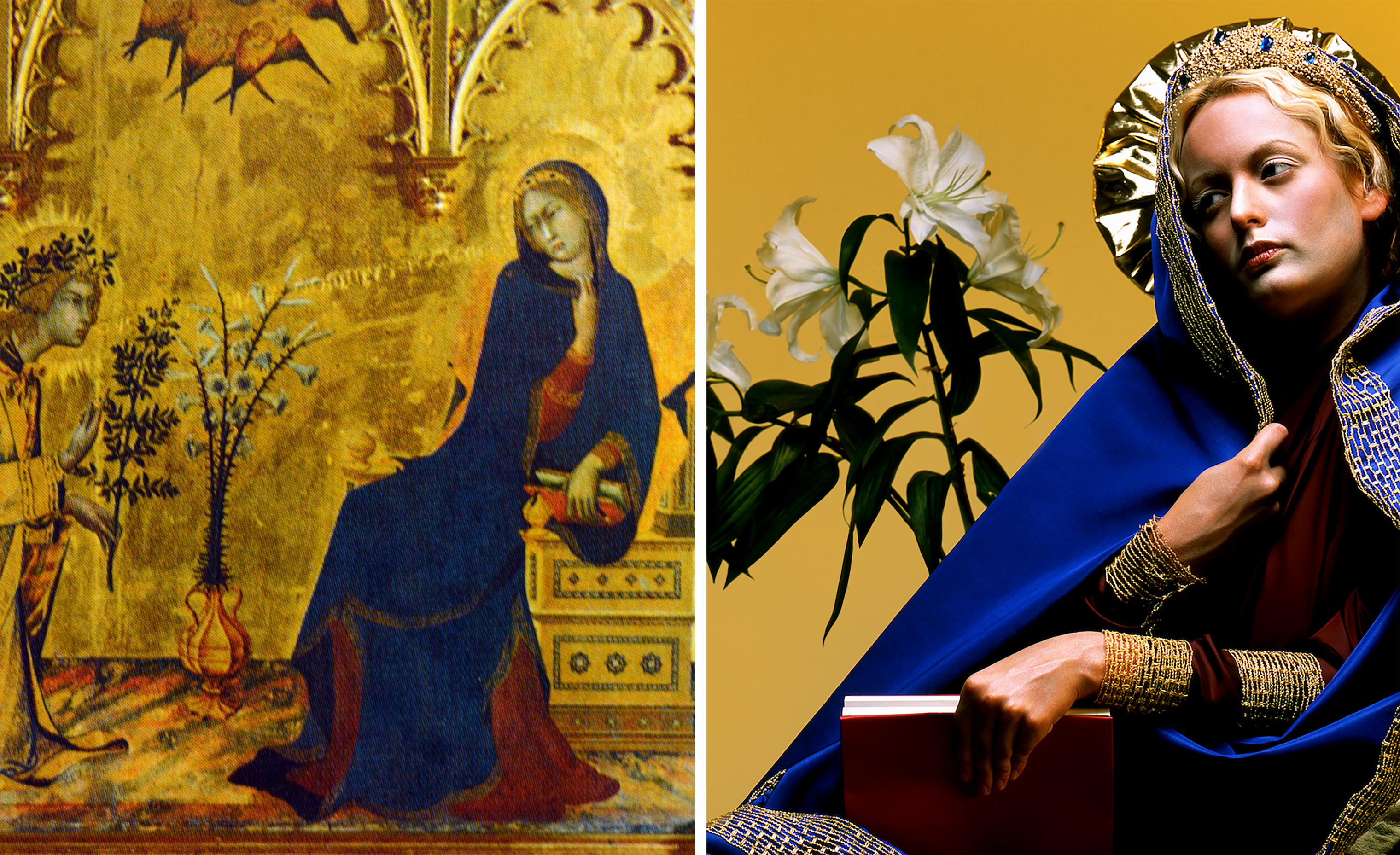 Left: Simone Martini and Lippo Memmi The Annunciation (detail), 1333 (Getty Images); Right: Nika Nesgoda, Annuntiatio, 2002