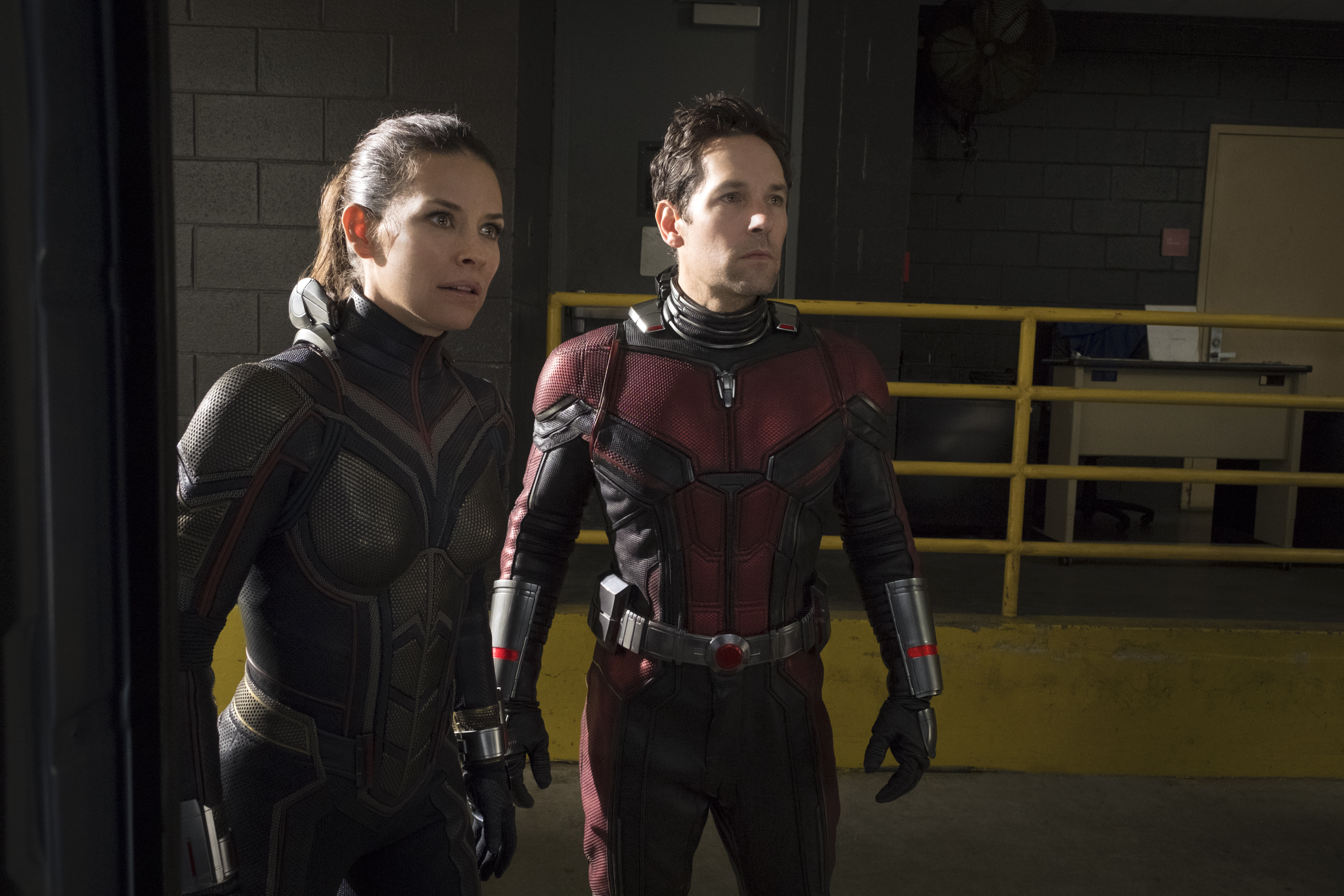 The Wasp/Hope van Dyne (Evangeline Lilly) and Ant-Man/Scott Lang (Paul Rudd) in Marvel's  Ant-Man and the Wasp