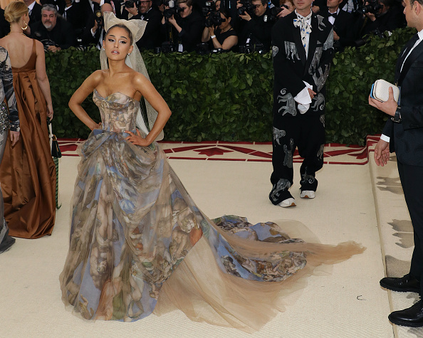 Ariana Grande attends 'Heavenly Bodies: Fashion & the Catholic Imagination,' the 2018 Costume Institute Benefit at Metropolitan Museum of Art on May 7, 2018 in New York City.