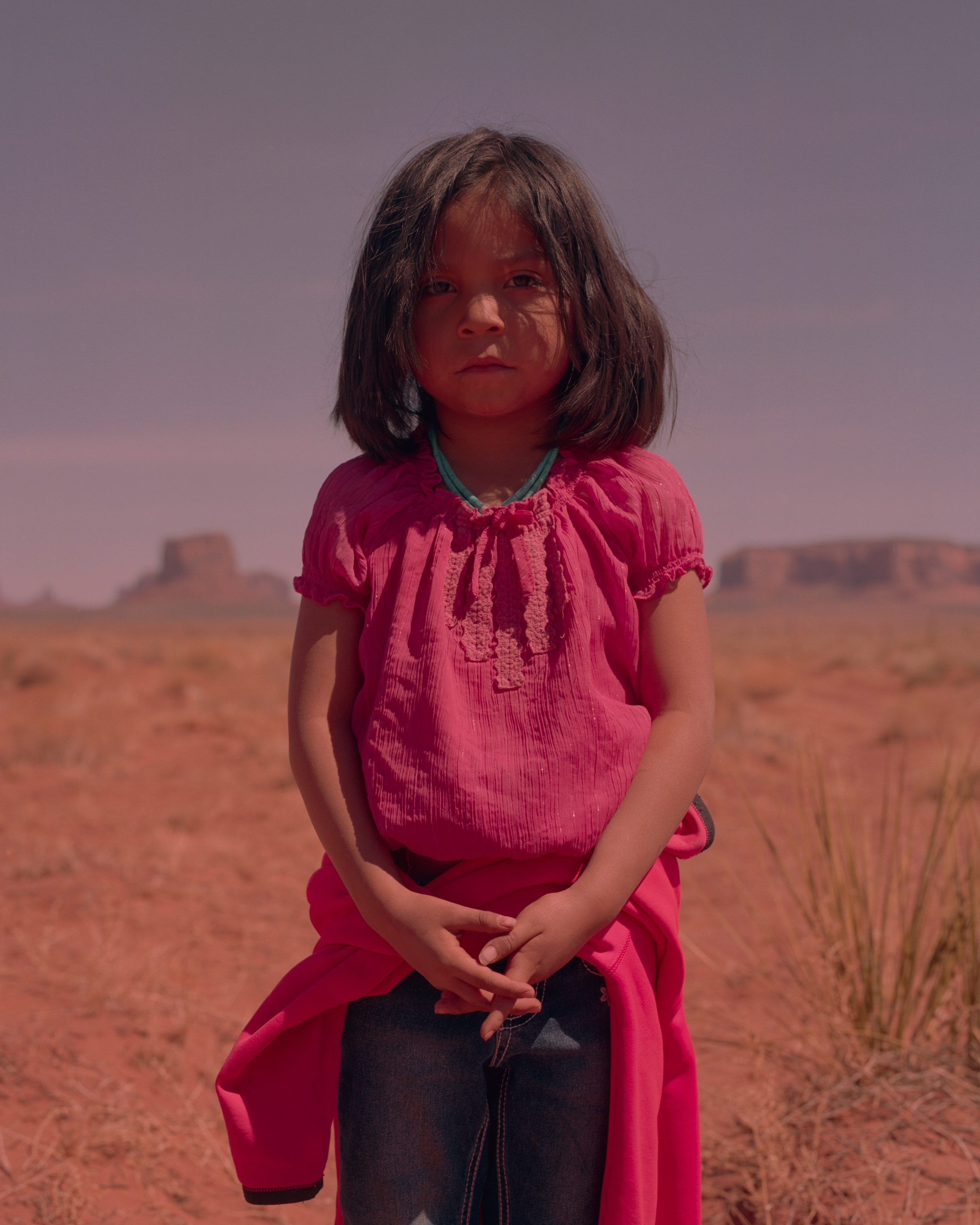 Alicia Sayetsitty, 5, in Monument Valley. Her stepmother Crystal, along with her two siblings, Yanabah and LJ, work most days selling handmade jewelry and native crafts at a roadside stand.
