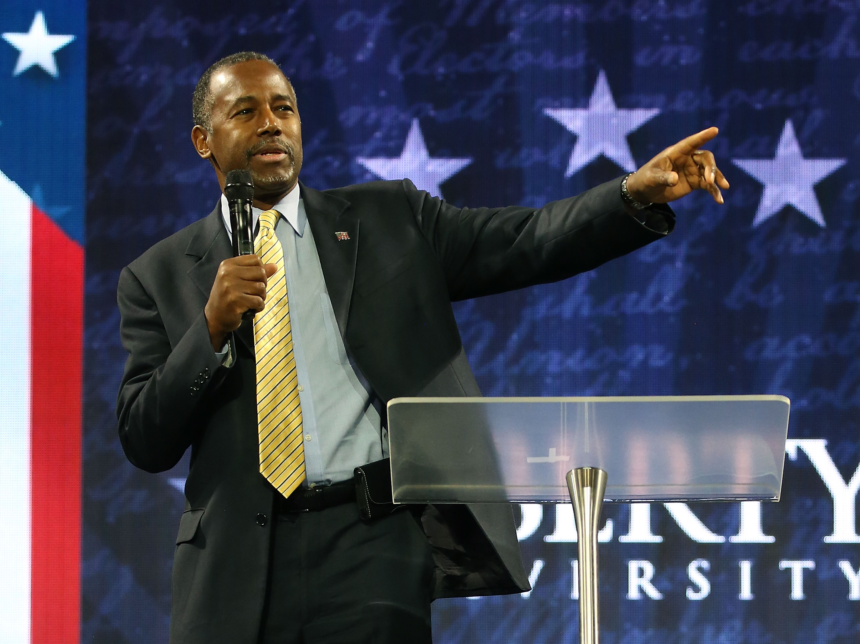 U.S. Republican President candidate Dr. Ben Carson speaks at Liberty University, on November 11, 2015 in Lynchburg, Virginia.