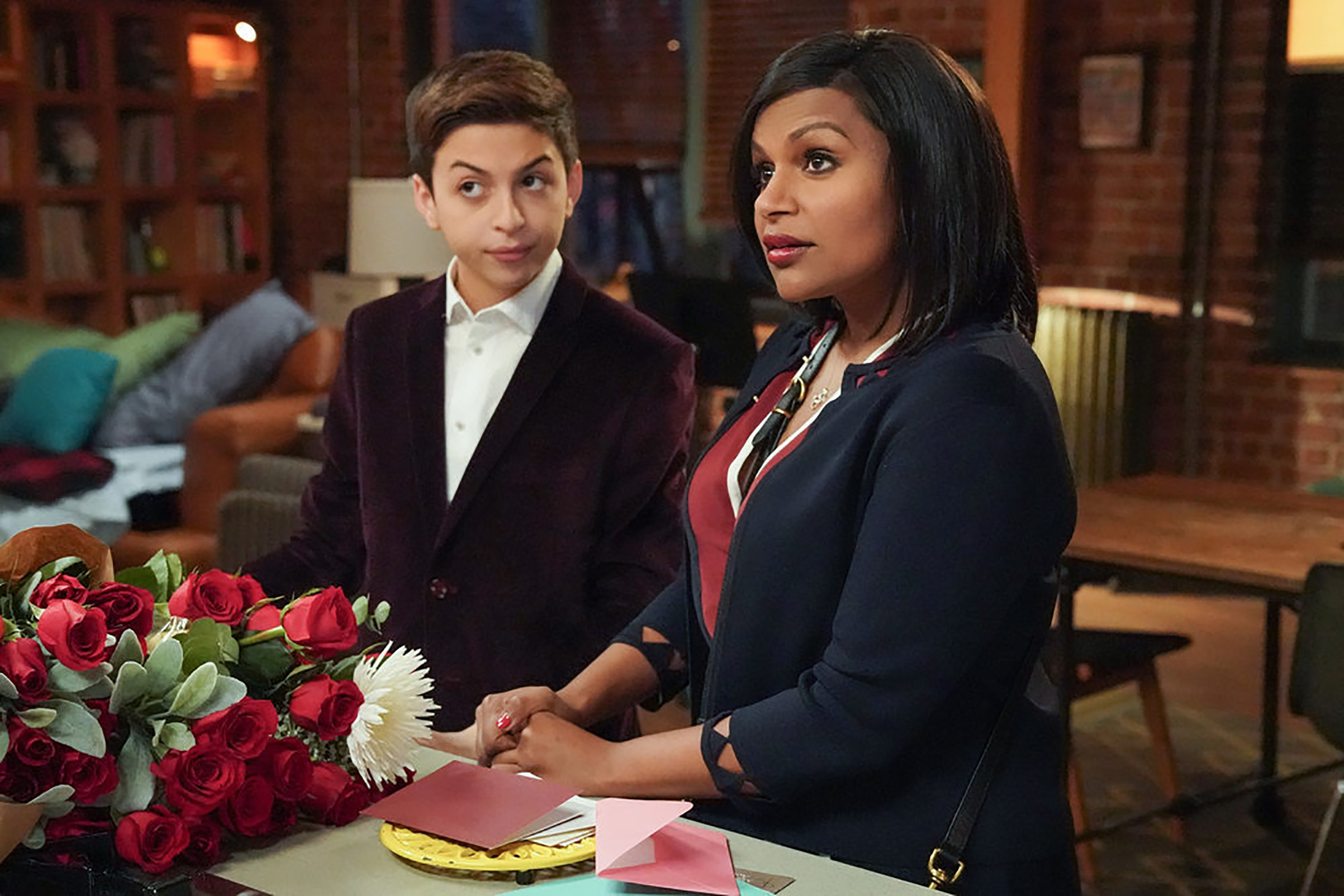 J.J. Totah as Michael and Mindy Kaling as Priya in 'Champions'