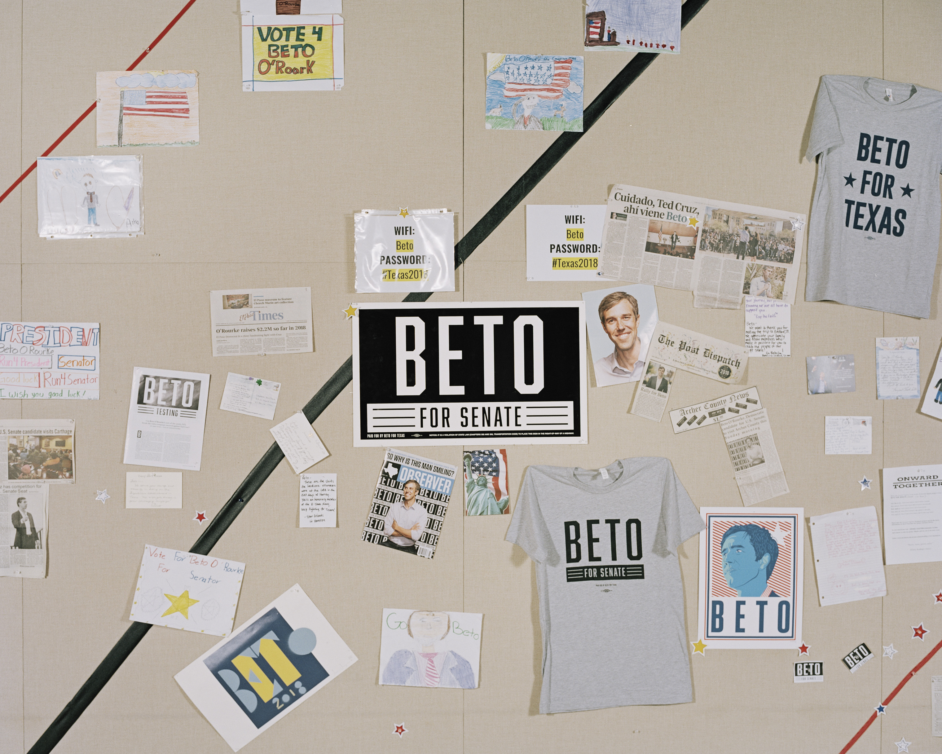 A wall in O'Rourke's campaign office.