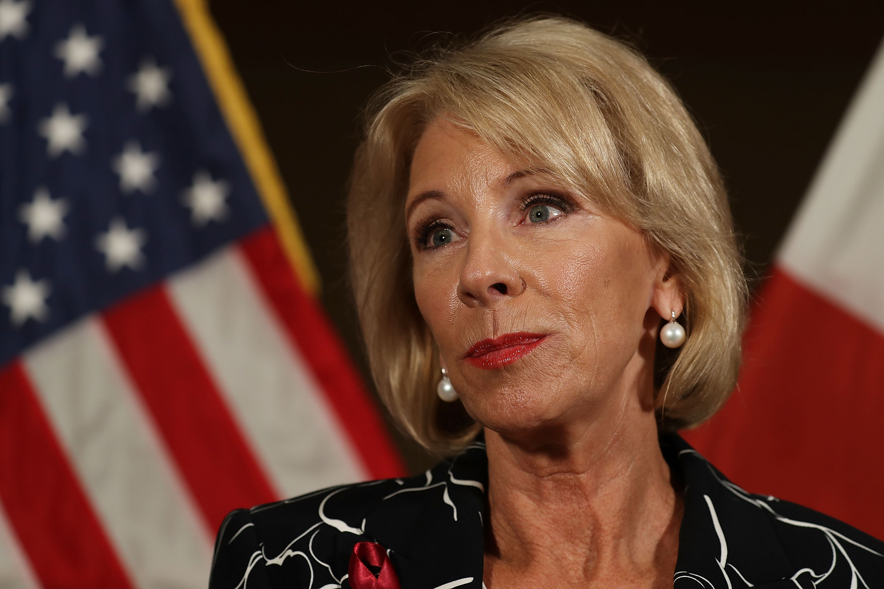 Education Secretary Betsy DeVos speaks to the news during a press conference held at the Heron Bay Marriott about her visit to Marjory Stoneman Douglas High School in Parkland on March 7, 2018 in Coral Springs, Fla.
