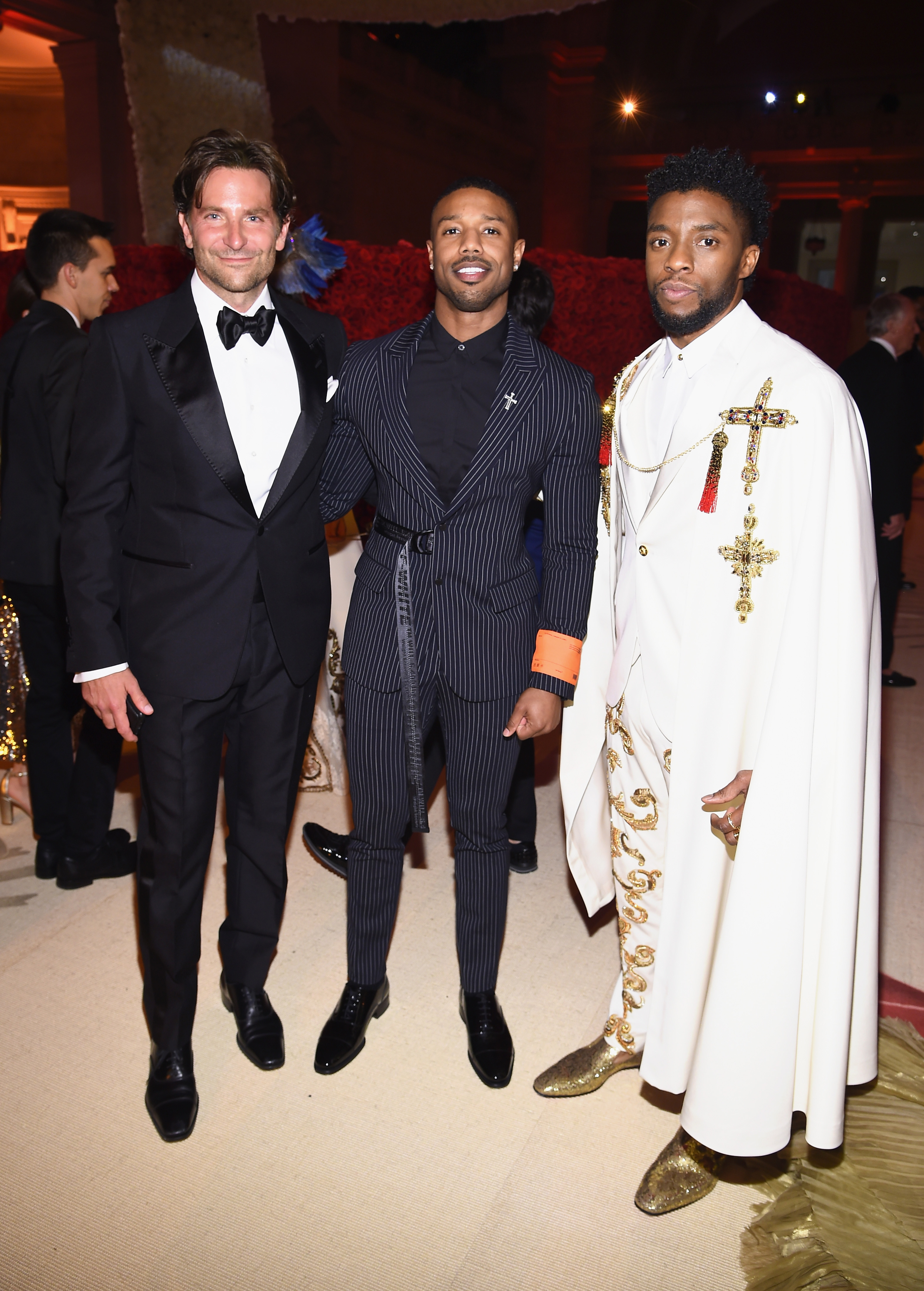 Bradley Cooper, Michael B. Jordan, and Chadwick Boseman attend the Heavenly Bodies: Fashion & The Catholic Imagination Costume Institute Gala at The Metropolitan Museum of Art on May 7, 2018 in New York City.