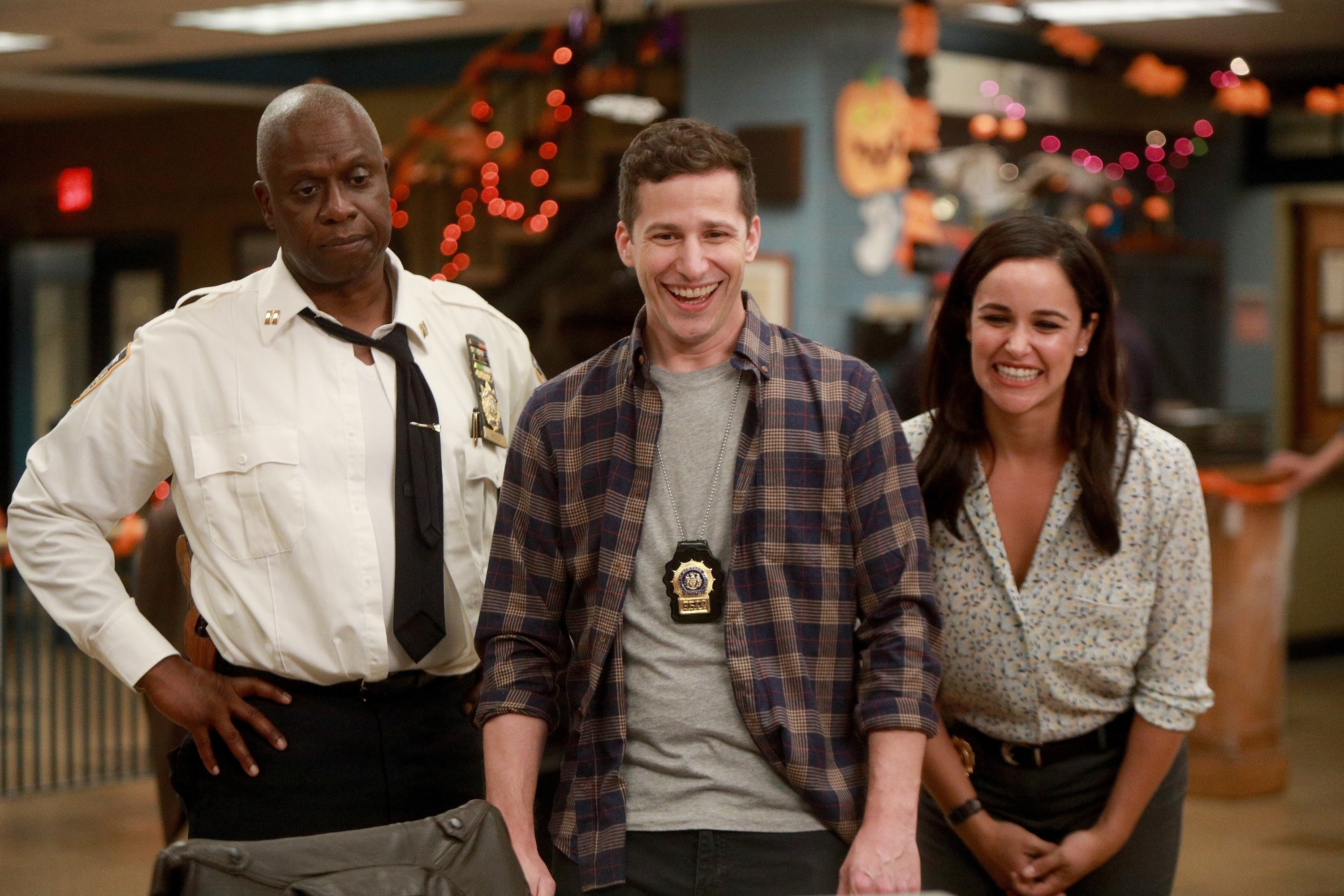 Andre Braugher, Andy Samberg and Melissa Fumero in the HalloVeen episode of BROOKLYN NINE-NINE airing Tuesday, Oct. 17