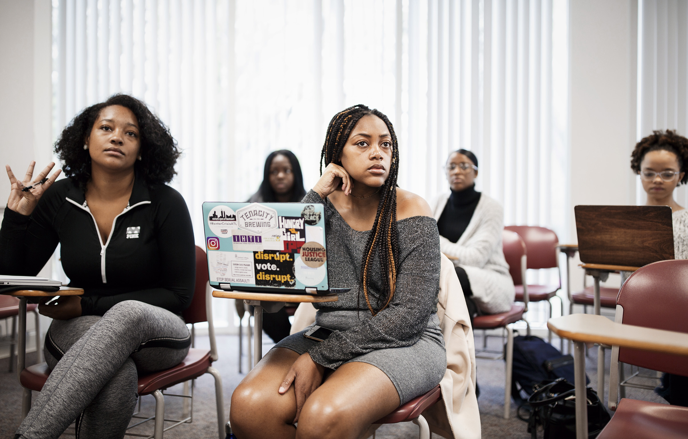 Spelman College Student Government Association president Jill Cartwright attends a class on April 9