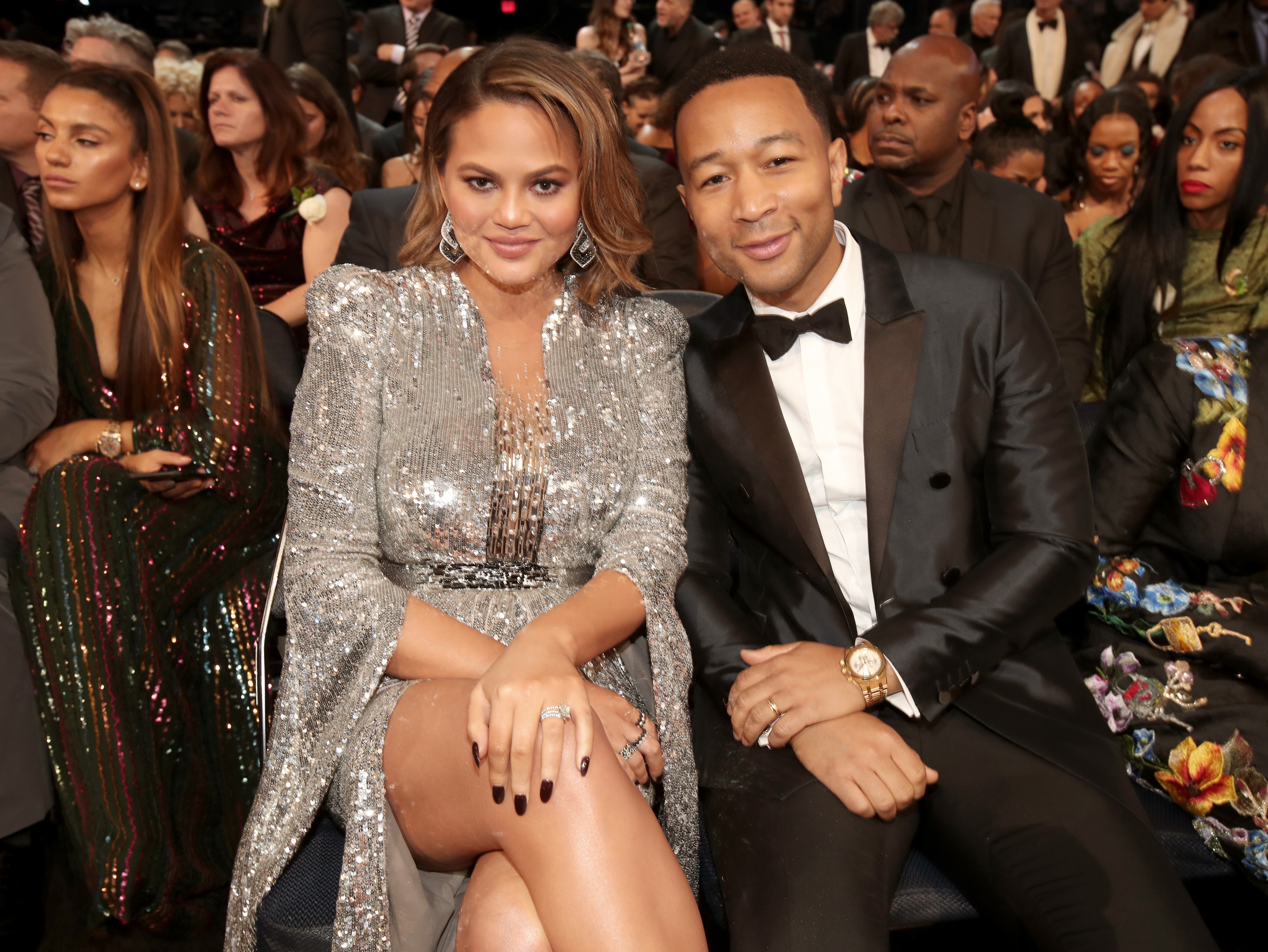 Model Chrissy Teigen (L) and recording artist John Legend attend the 60th Annual GRAMMY Awards at Madison Square Garden on January 28, 2018 in New York City.