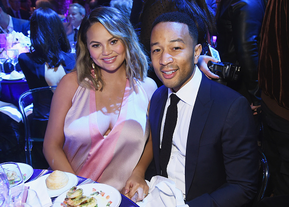 Chrissy Teigen (L) and John Legend attend City Harvest's 35th Anniversary Gala at Cipriani 42nd Street on April 24, 2018 in New York City.