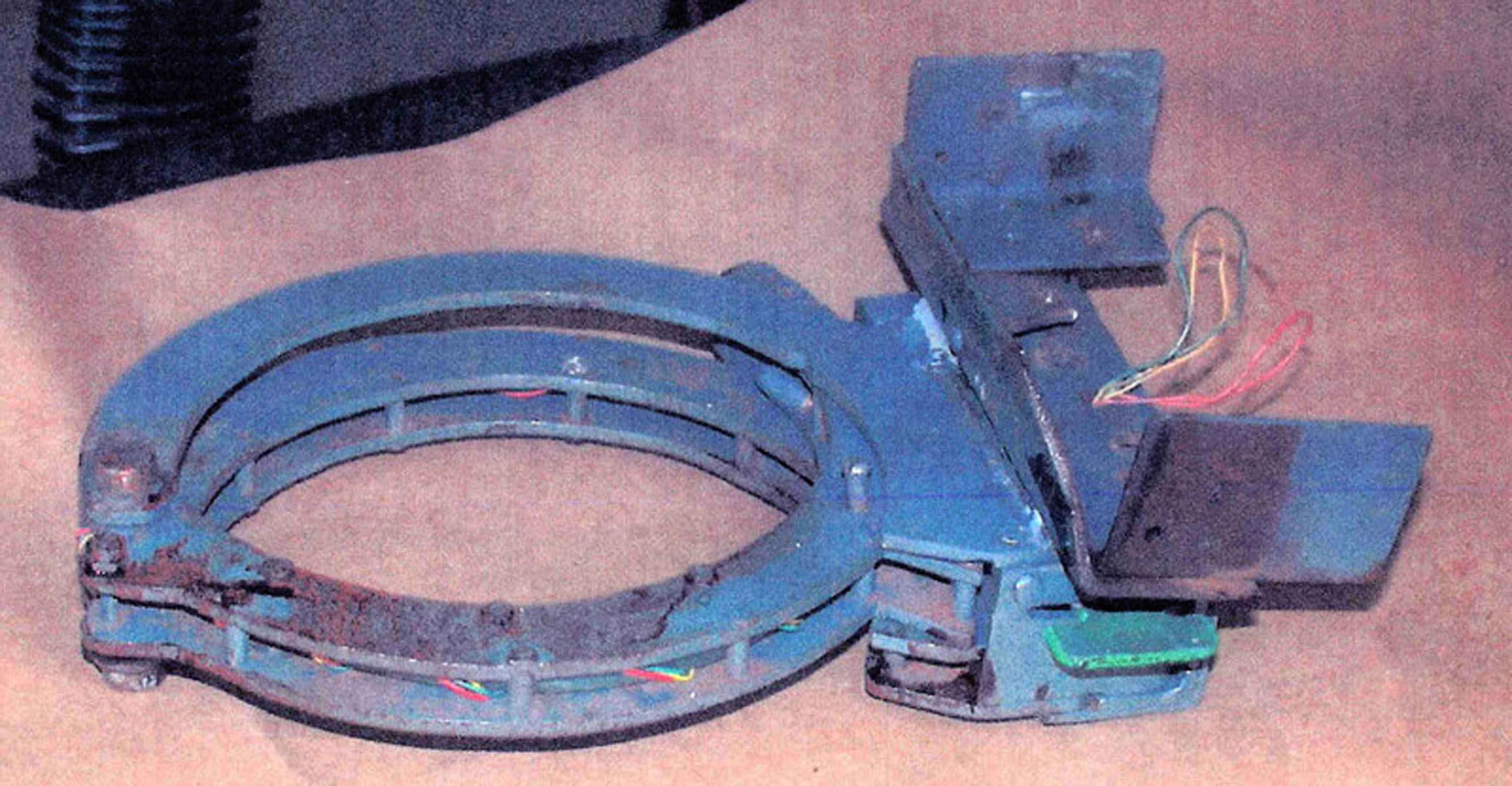 This is an FBI handout photo of the collar device used to secure a bomb to Brian Wells' neck.