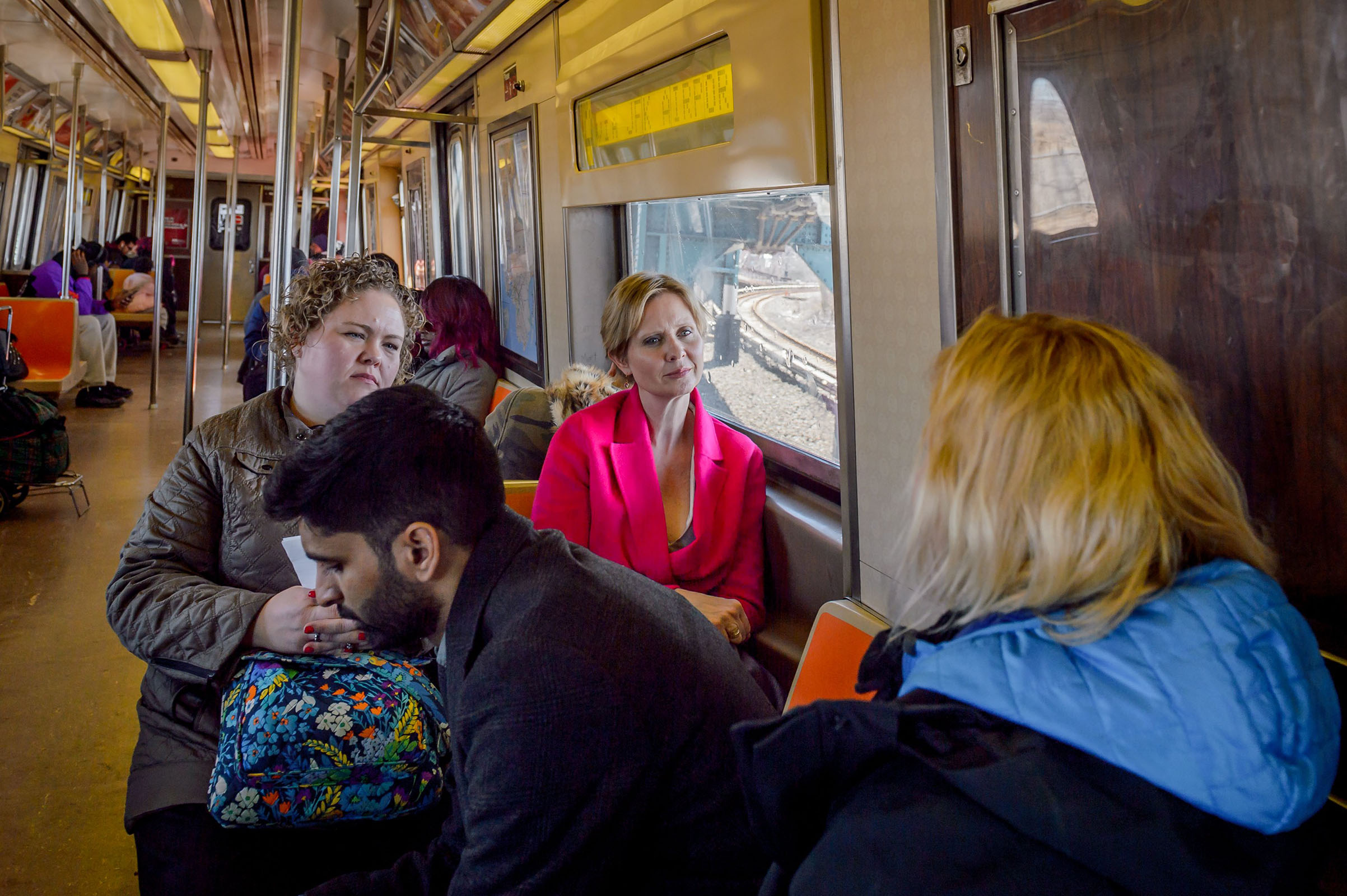 Cynthia Nixon, a lifelong New Yorker, actor, progressive advocate and candidate running for governor takes the subway to the Rockaways on April 20, 2018.