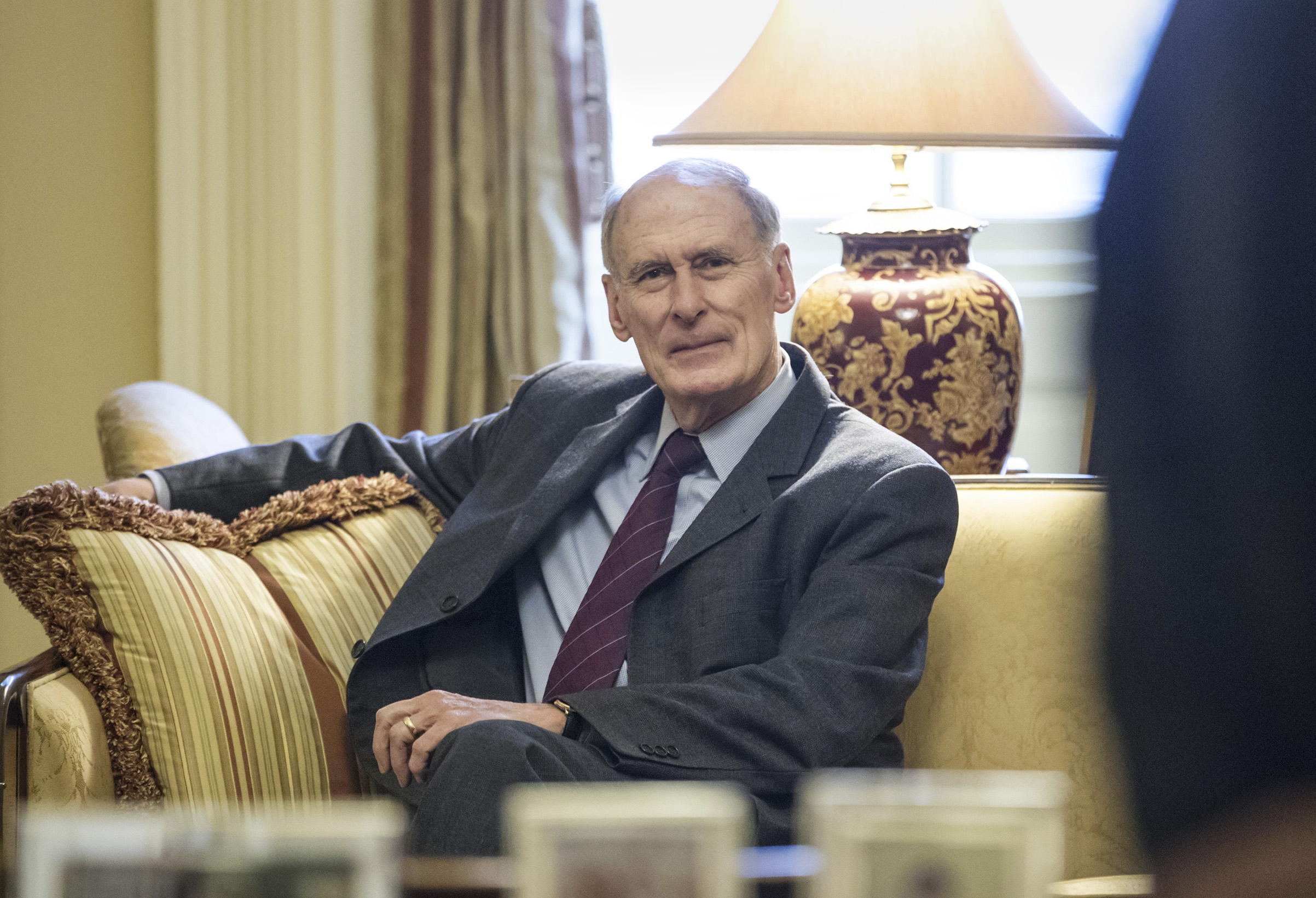 National Intelligence Directo Dan Coats waits for the start of a meeting with Senate Majority Leader Mitch McConnell of Ky. on Capitol Hill in Washington on January 23 2017