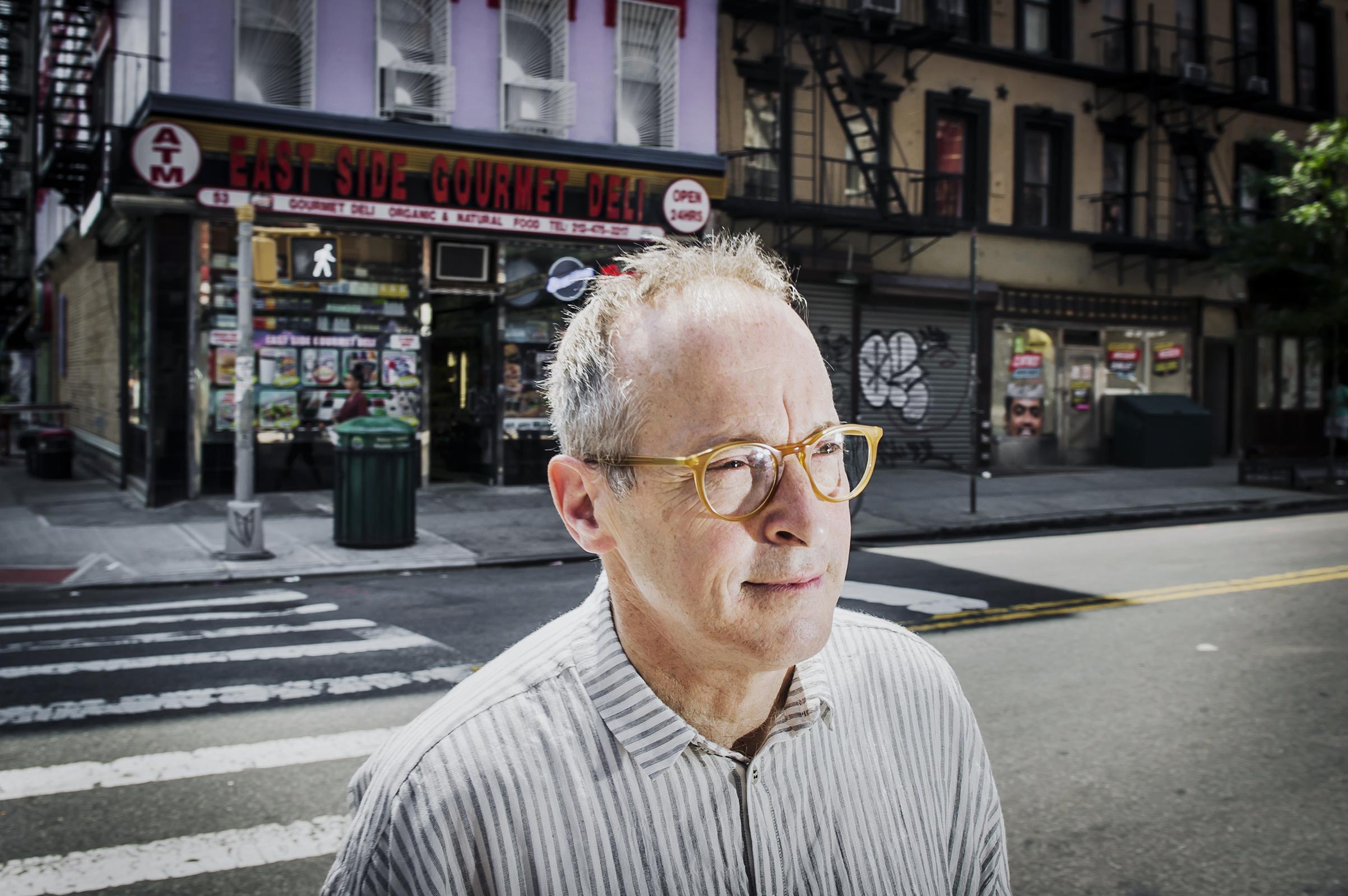 David Sedaris in the East Village of New York City on May 25, 2018.