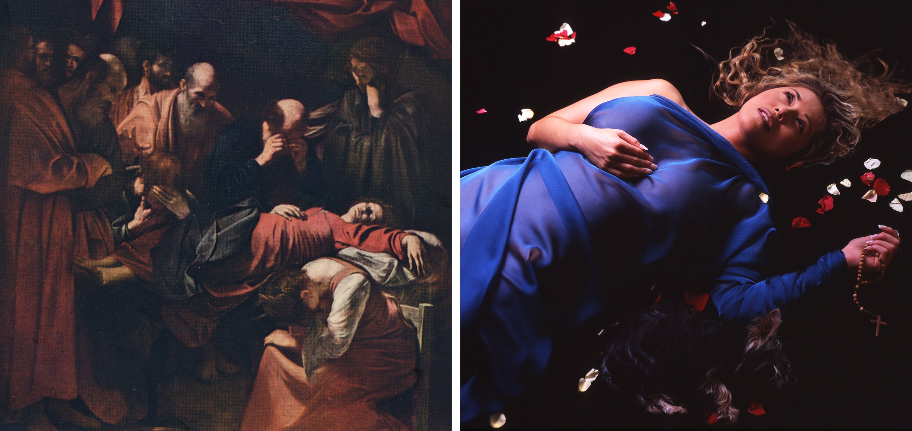 Left: Caravaggio, The Death of the Virgin, commissioned 1602 (The Print Collector/Getty Images); Right: Nika Nesgoda, Mors de Virgine, 2002