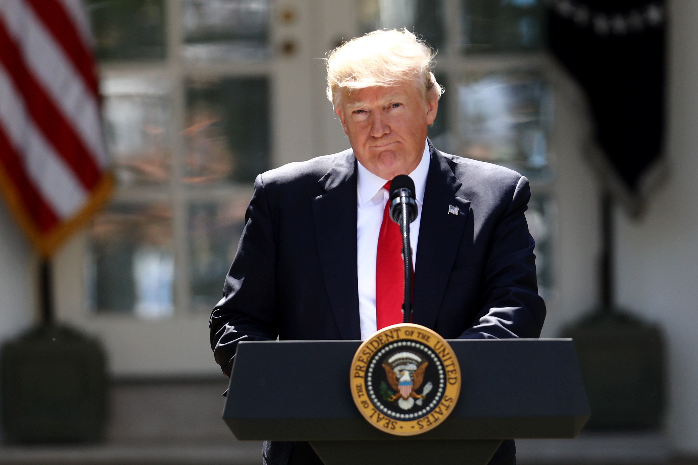 U.S. President Donald Trump pauses while speaking during an announcement in the Rose Garden of the White House in Washington, D.C., in June 2017