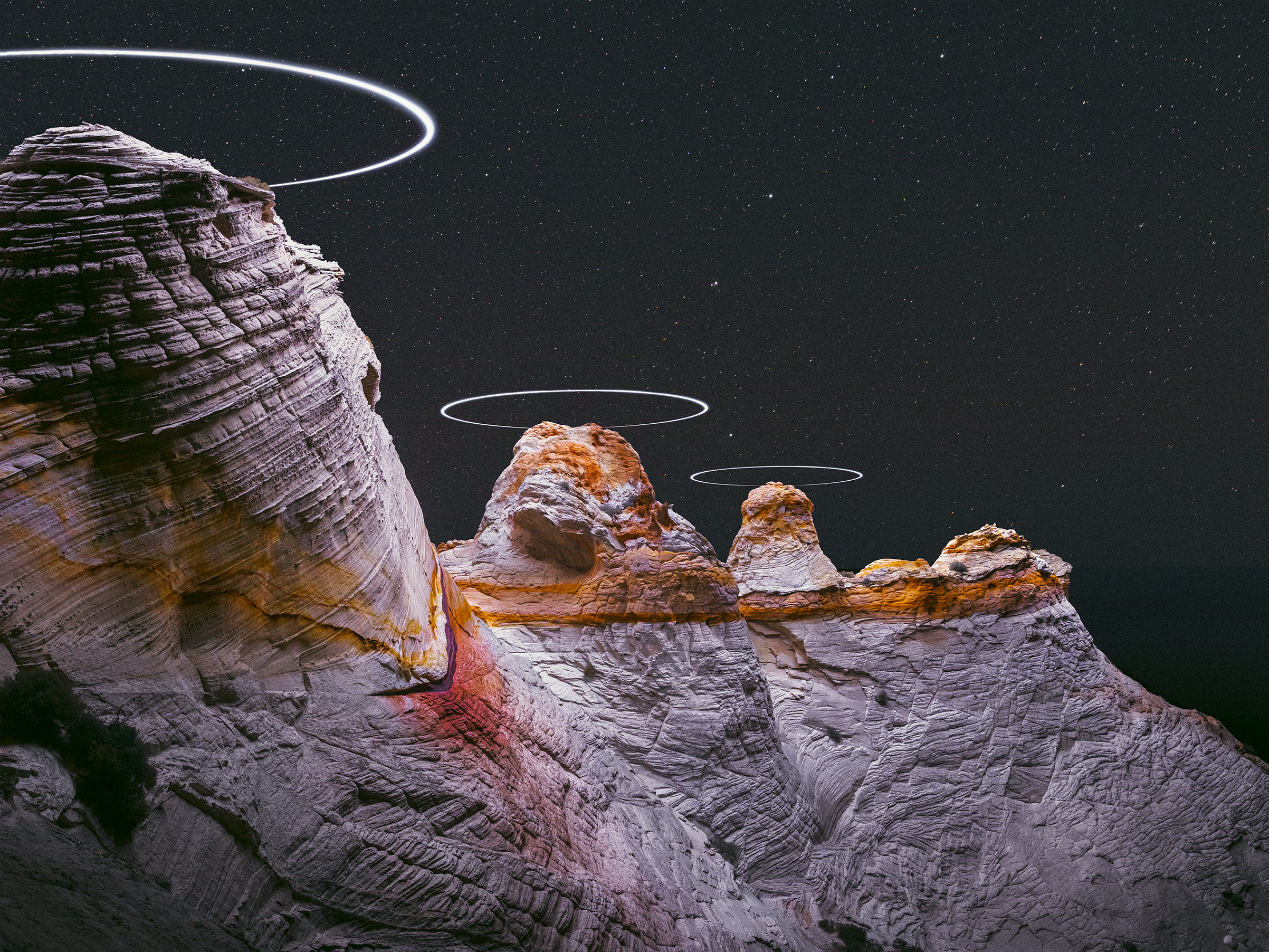A landscape by Reuben Wu, who achieves otherworldly lighting effects in his photographs by using custom-modified drones