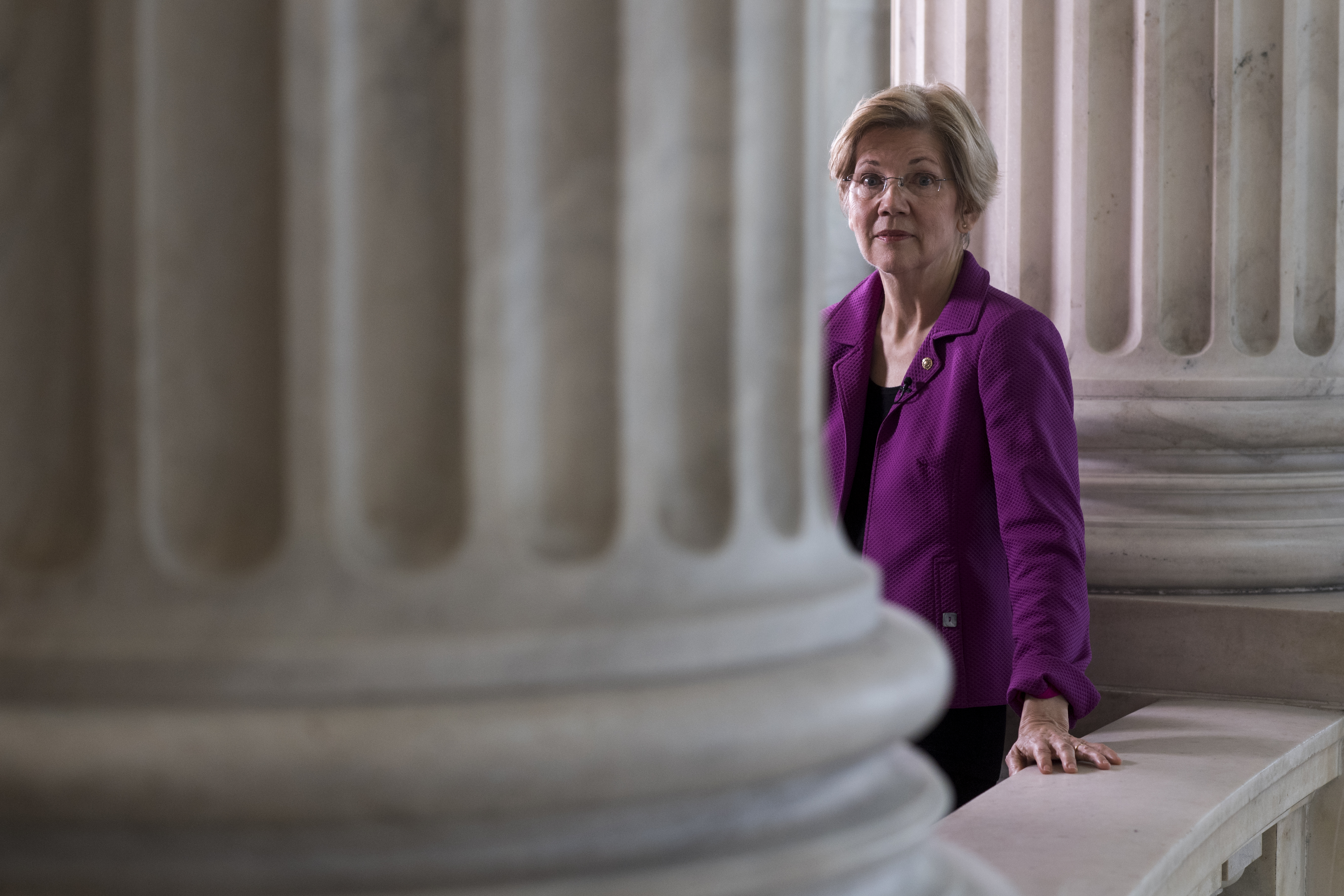 Sen. Elizabeth Warren, D-Mass., makes the rounds for television news interviews.