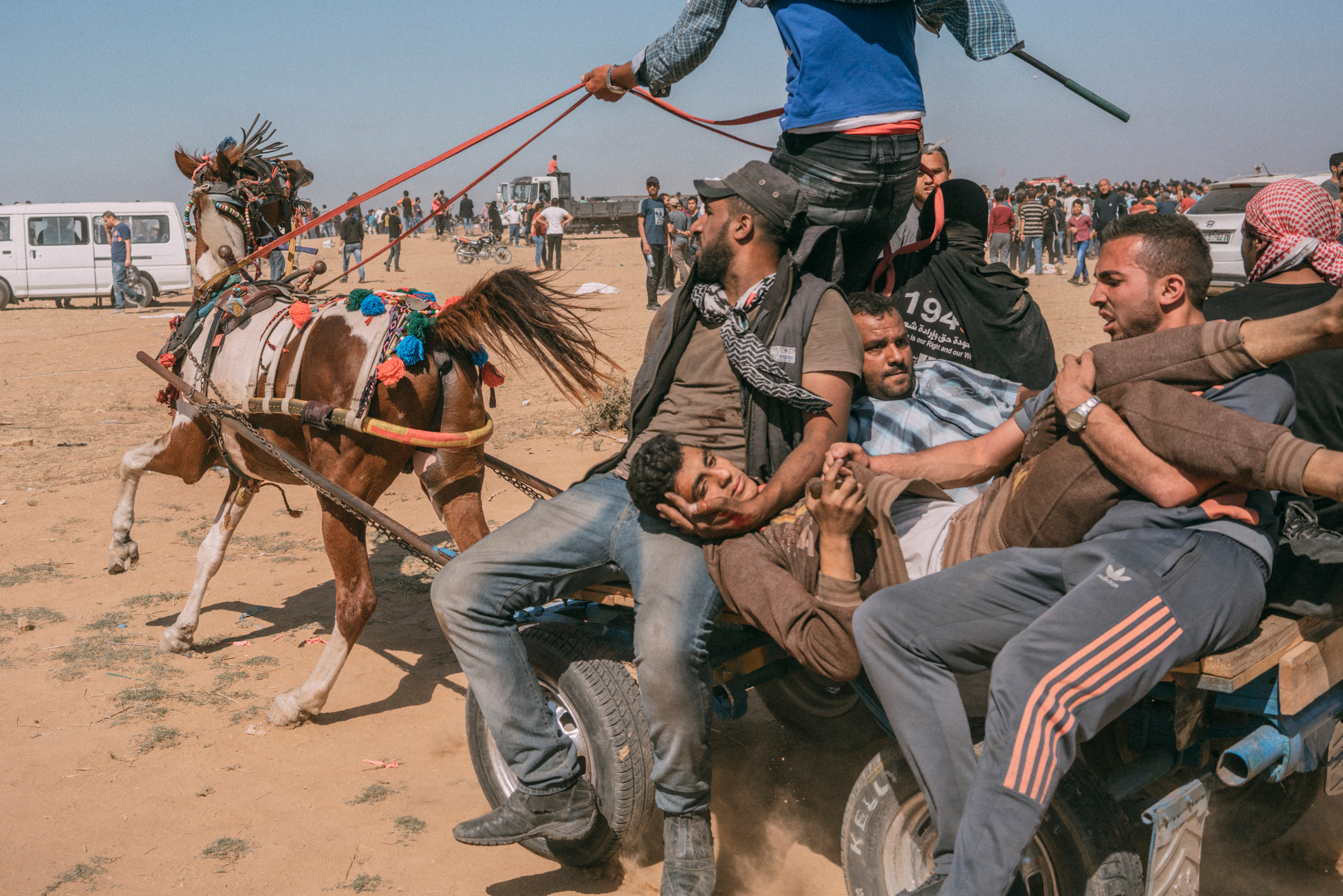 An injured Palestinian man is evacuated on a horse-drawn cart along the Gaza-Israel border on May 14, 2018.