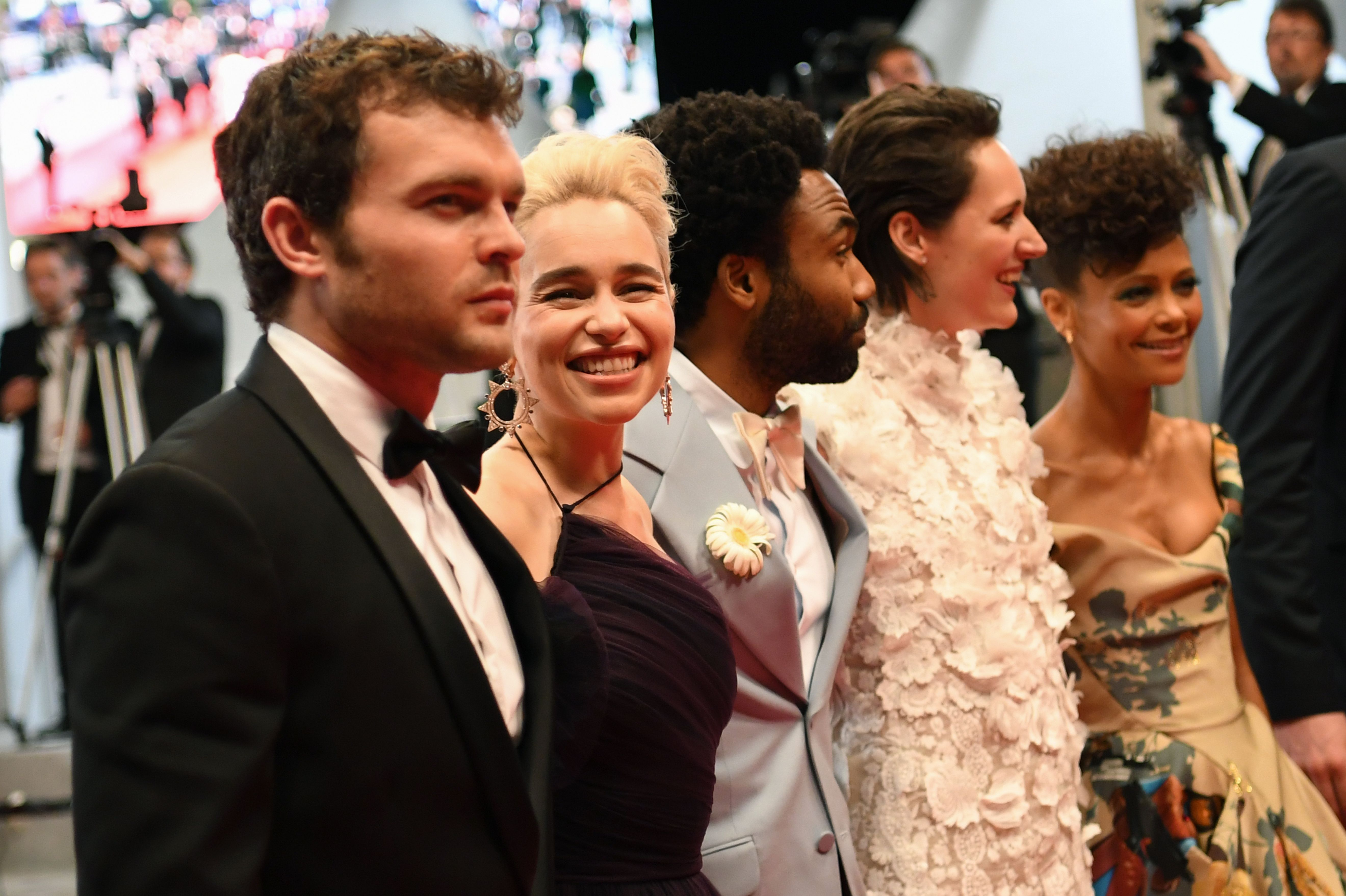 US actor Alden Ehrenreich, British actress Emilia Clarke, US actor Donald Glover, British actress Phoebe Waller-Bridge and British actress Thandie Newton pose as they leave the Festival Palace on May 15, 2018.