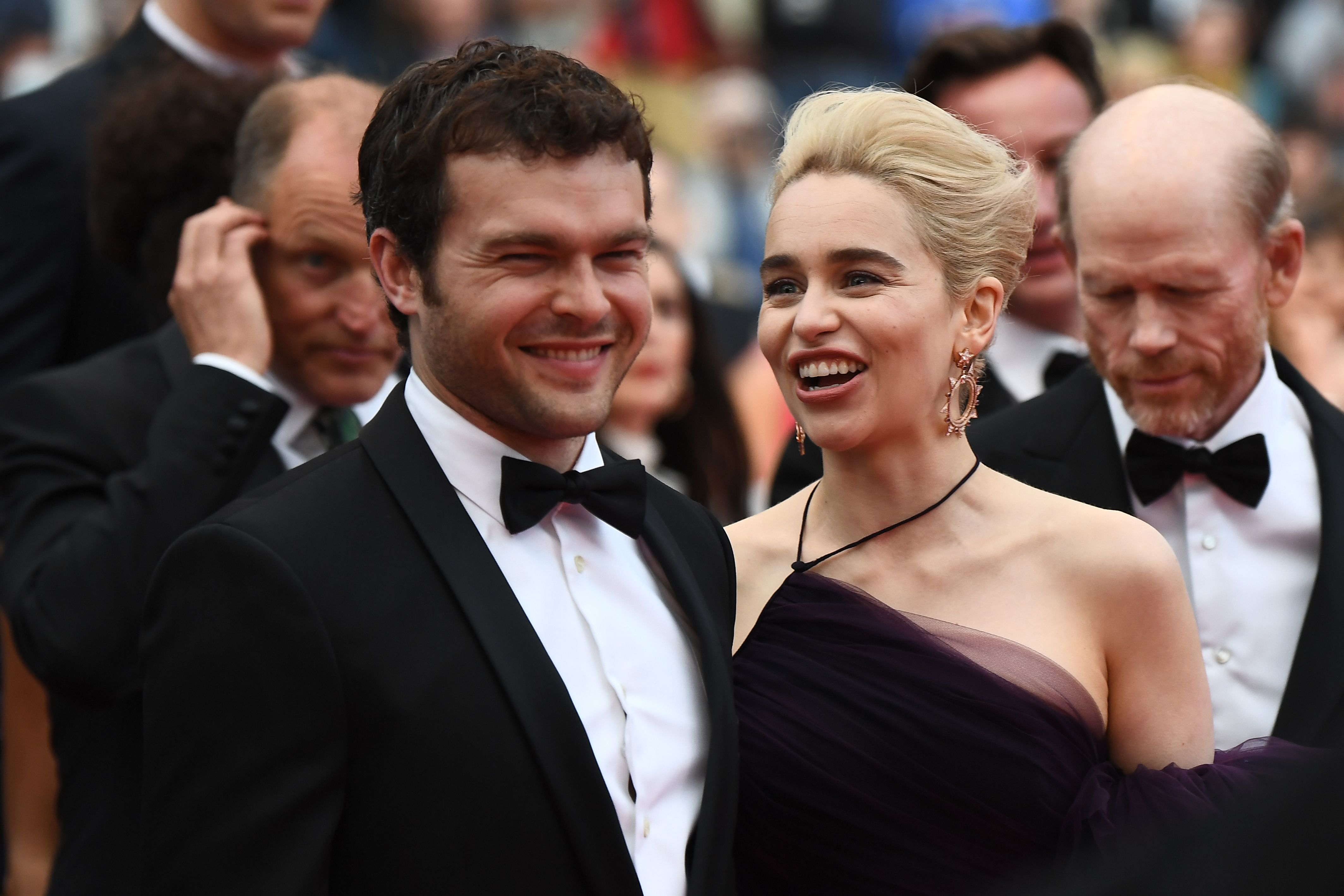 US actor Alden Ehrenreich (L), British actress Emilia Clarke and US director Ron Howard arrive on May 15, 2018 for the screening of the film  Solo : A Star Wars Story.