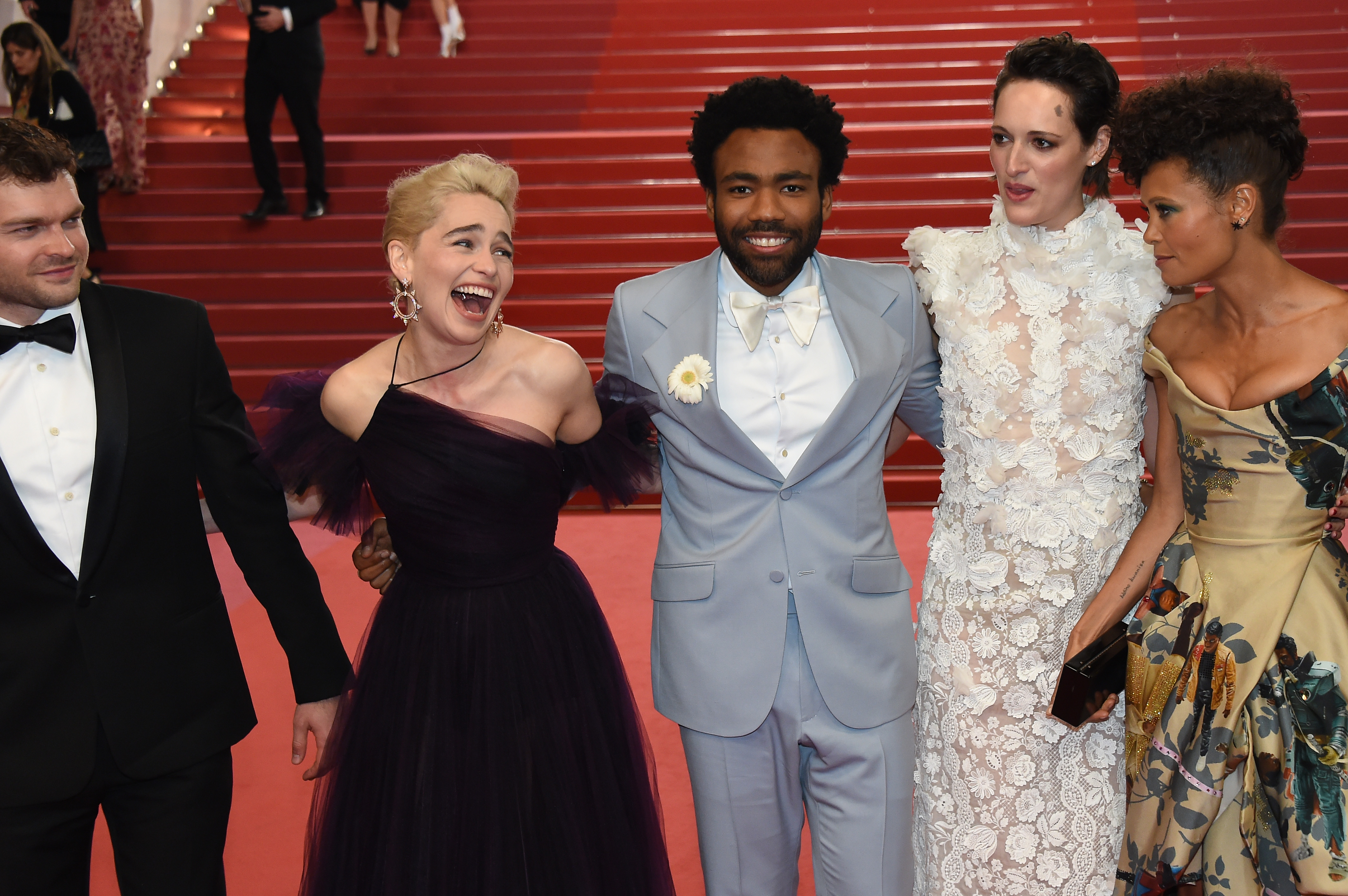 Actors Alden Ehrenreich, Emilia Clarke, Donald Glover, Phoebe Waller-Bridge and Thandie Newton depart the screening of  Solo: A Star Wars Story  during the 71st annual Cannes Film Festival at Palais des Festivals on May 15, 2018 in Cannes, France.