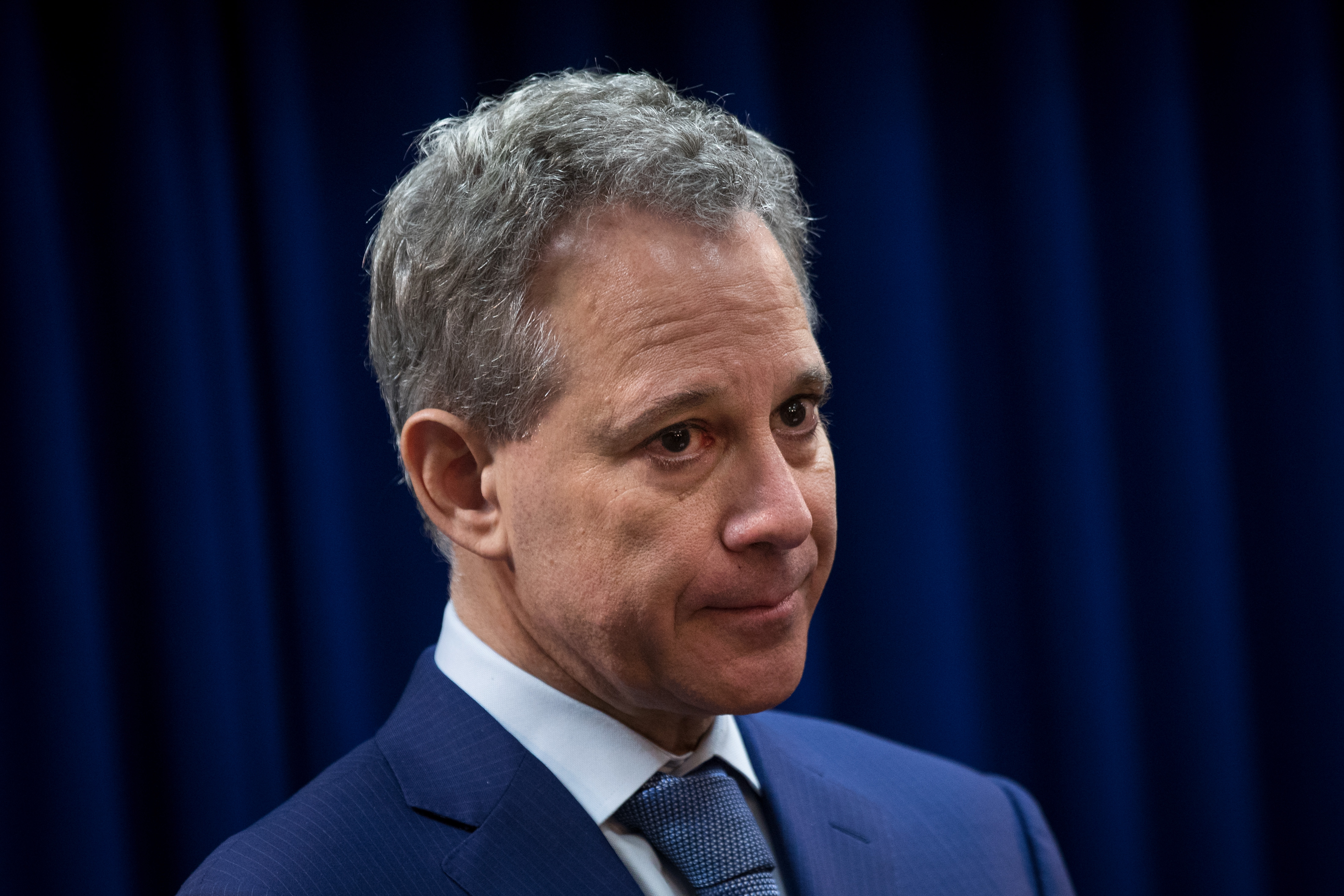 New York State Attorney General Eric Schneiderman looks on during a press conference to call for an end of Immigration and Customs Enforcement (ICE) raids in New York state courts on Aug. 3, 2017 in the Brooklyn borough of New York City.