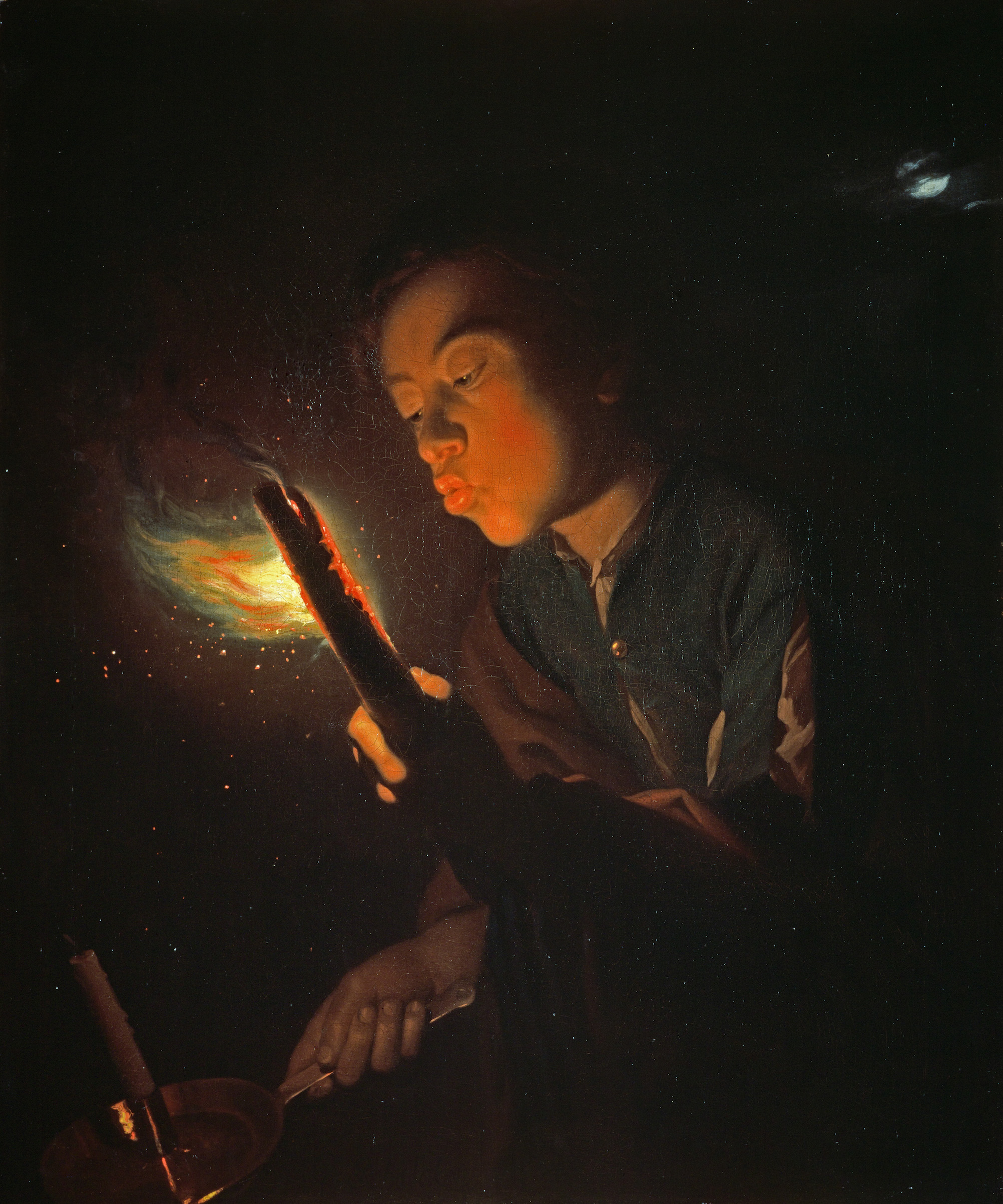A Boy Blowing on a Firebrand to Light a Candle, by Godfried Schalcken, 1692 - 1698. Oil on canvas. Purchased with the assistance of the Art Fund and the National Heritage Memorial Fund 1989  . (Photo by National Galleries Of Scotland/Getty Images)