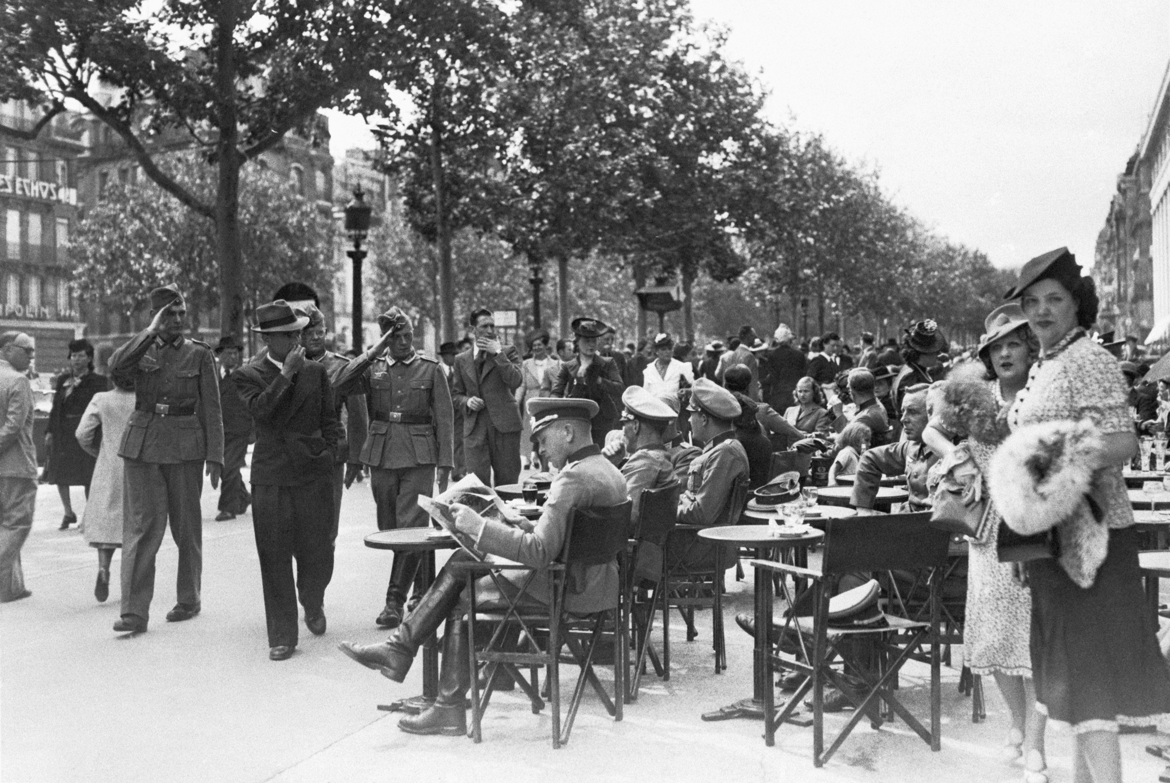 Parisians on the first Bastille Day under Nazi occupation, in 1940.