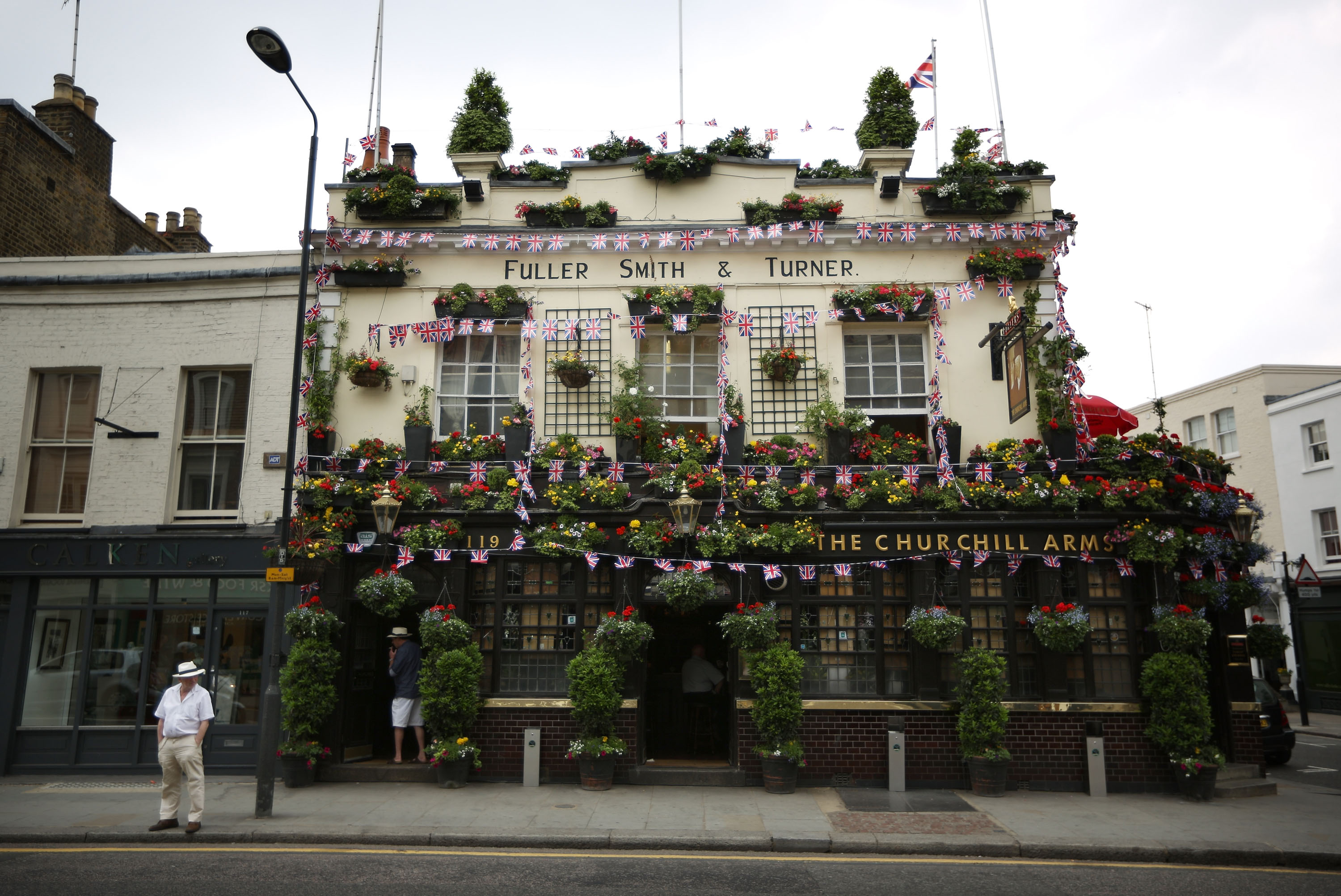 The Churchill Arms pub is decorated with Union Jack flags on May 29, 2012 in London, England.