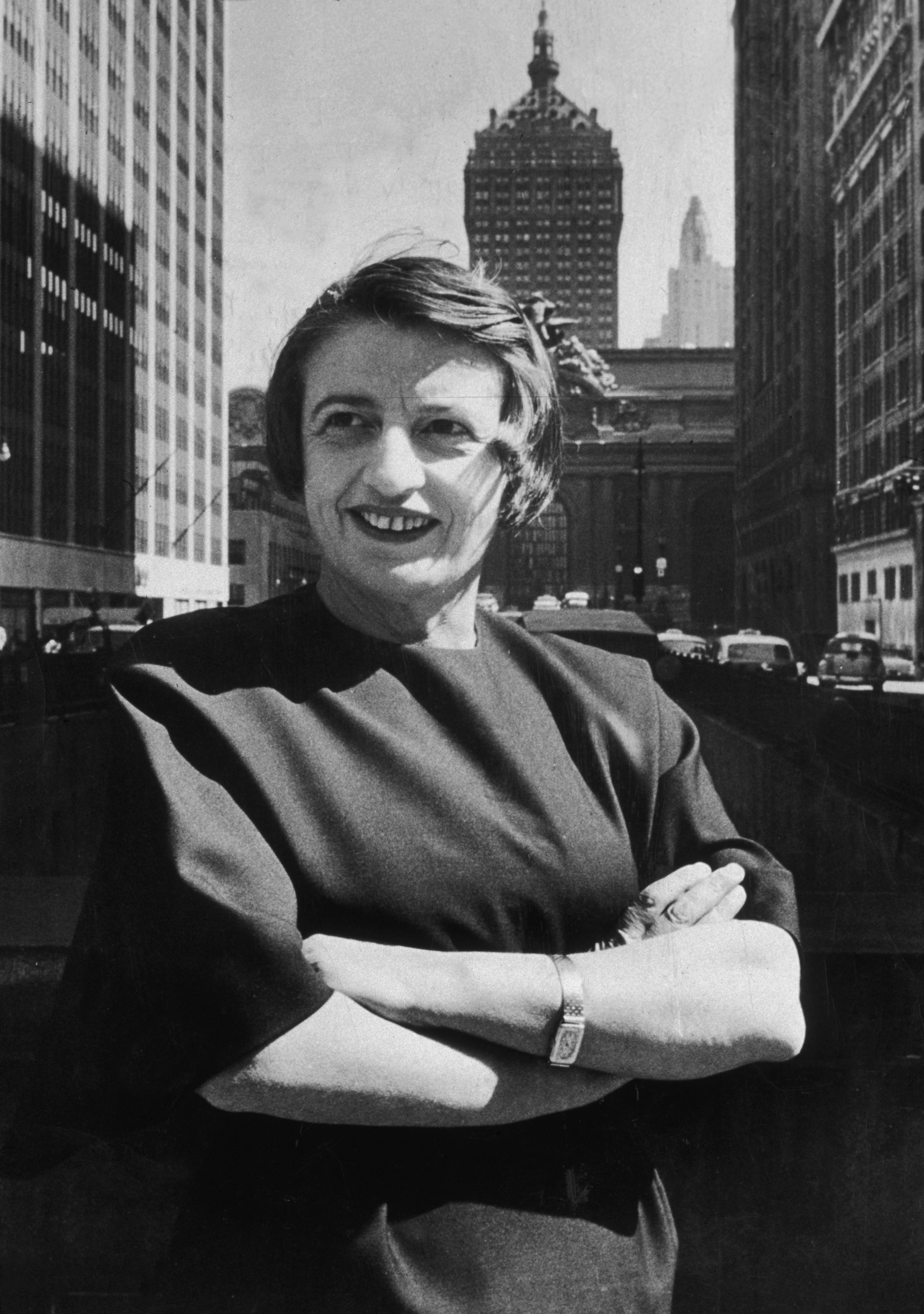 Ayn Rand in front of Grand Central in midtown Manhattan in 1957.