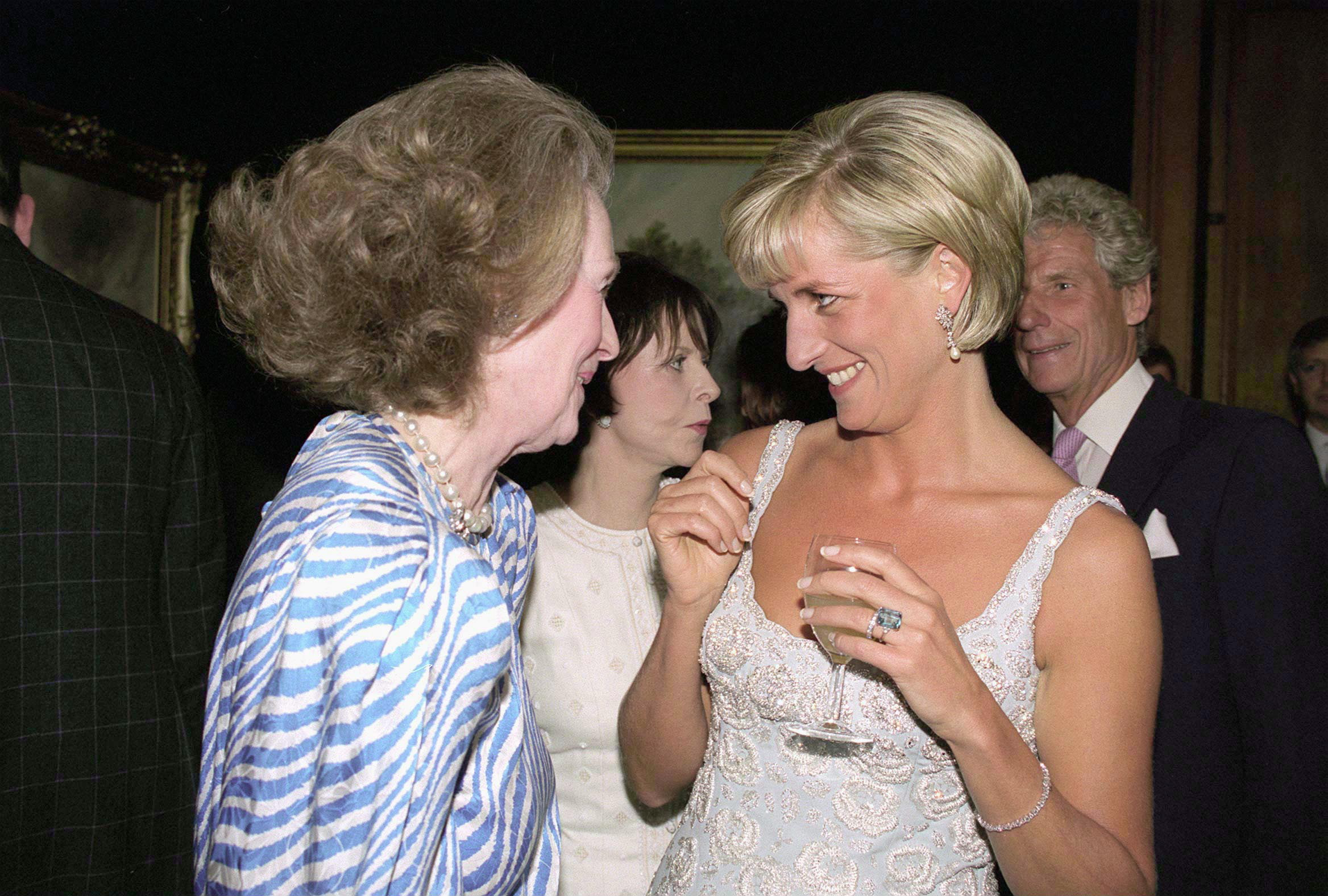 Diana, Princess Of Wales at A Private Viewing And Reception At Christies In Aid Of The Aids Crisis Trust And The Royal Marsden Hospital Cancer Fund. With her Stepmother Raine, Comtesse De Chambrun.  (Photo by Tim Graham/Getty Images)